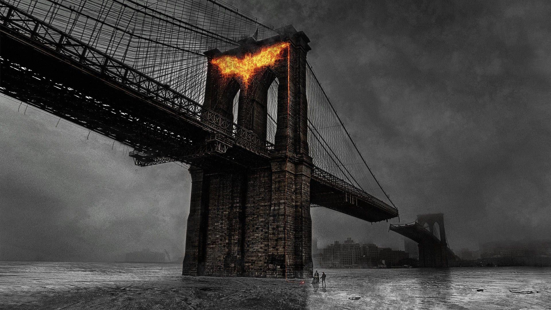 Batman signal on Brooklyn Bridge HD Wallpaper 1920×1080