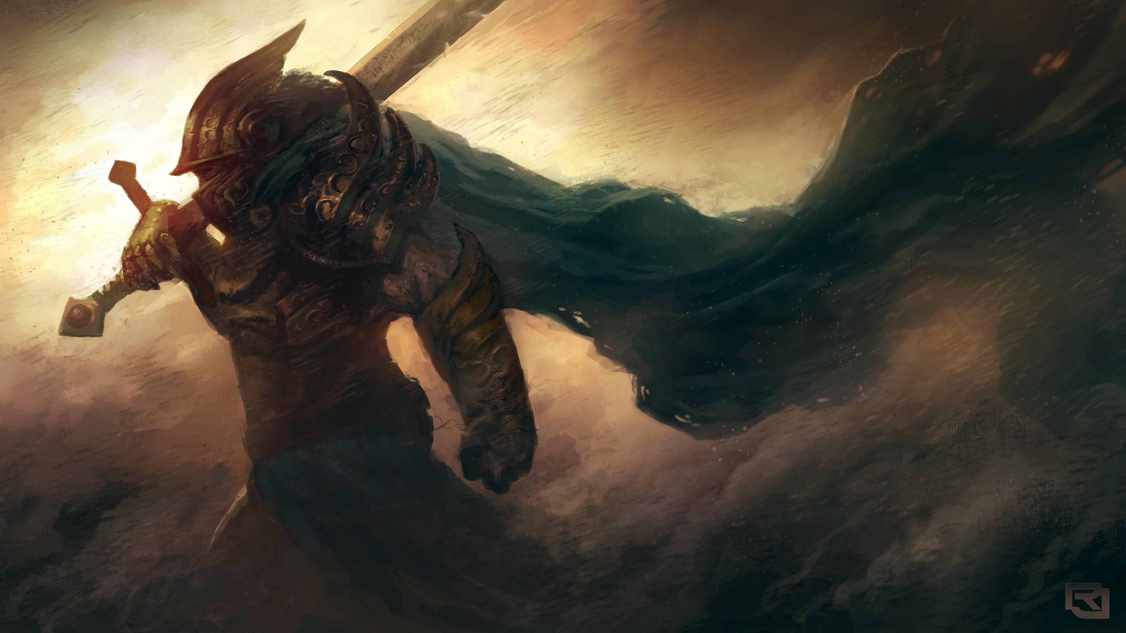 Preview wallpaper art, warrior, armor, helmet, sword, wind, storm 3840×2160