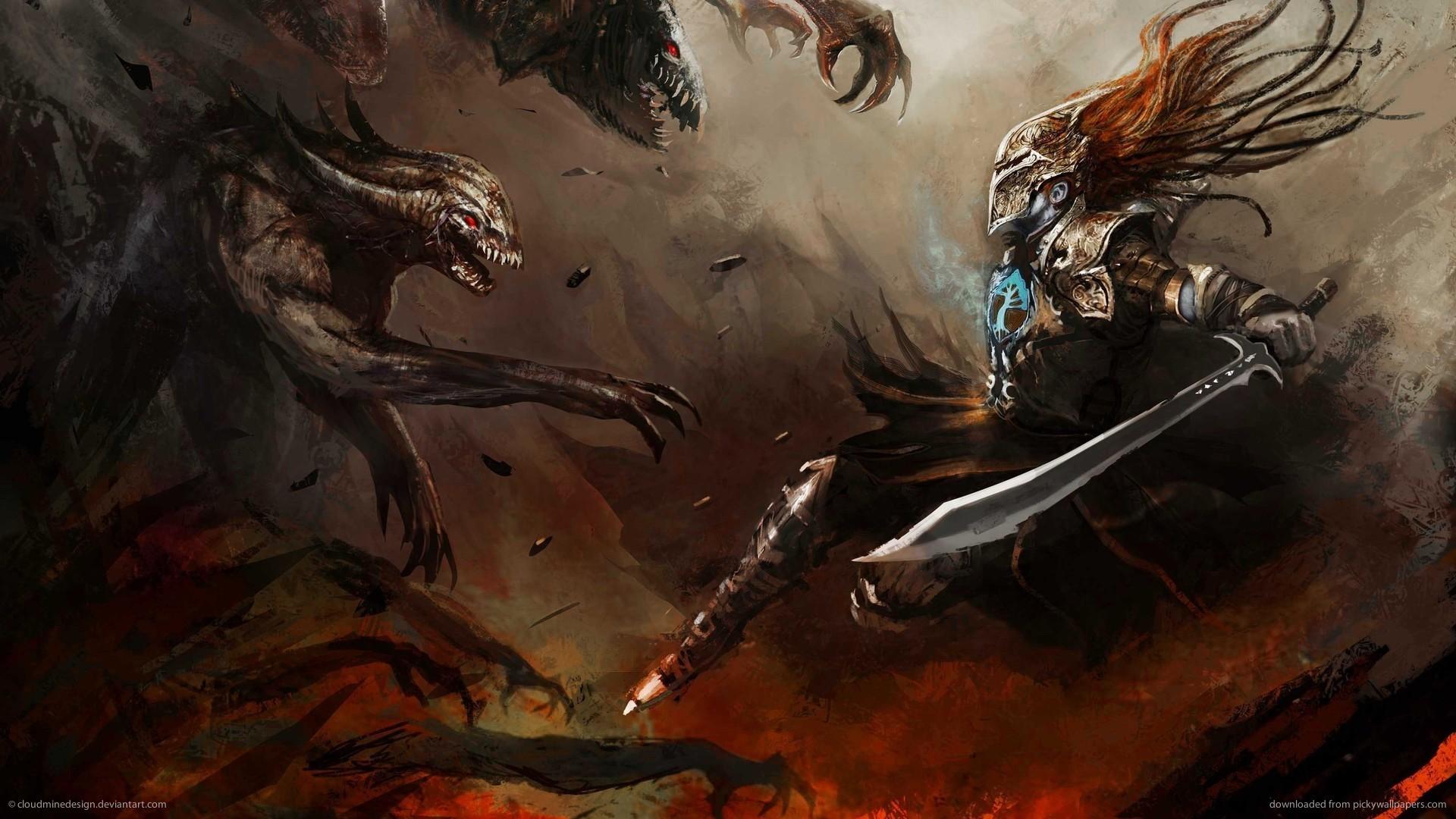 HD Warrior vs Vile Beasts wallpaper