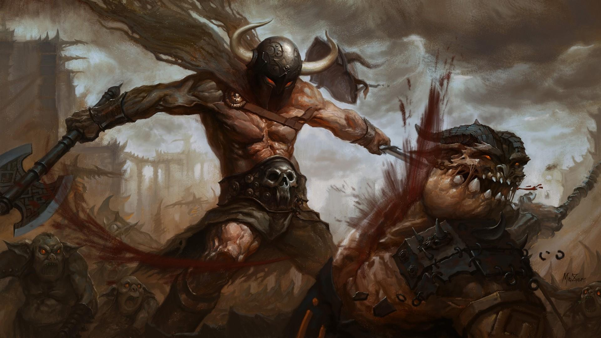 Wallpaper arms, art, battle, warrior, monsters