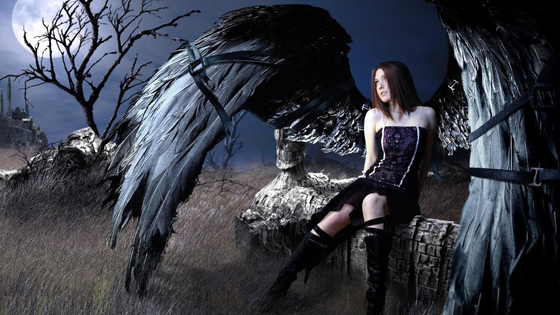 Outstanding Black Angel Wallpaper 1920x1080px