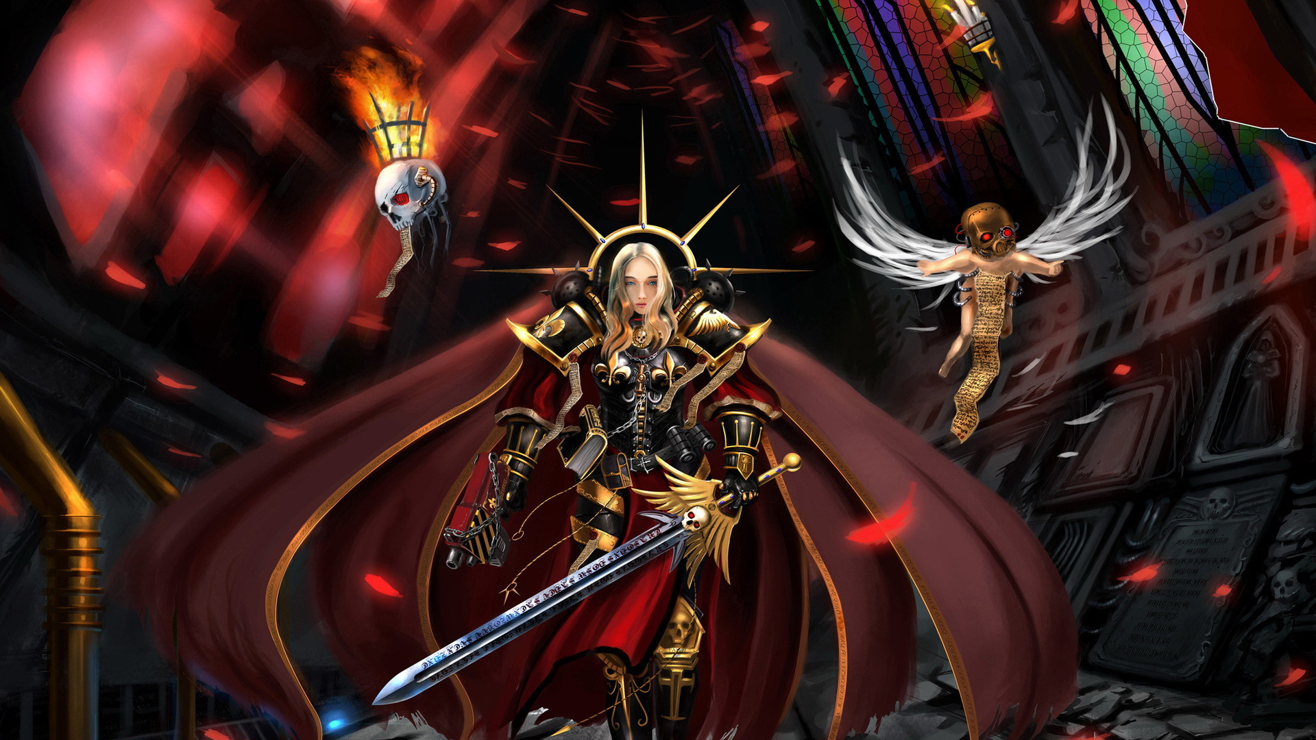 Warhammer 40k sci fi science fantasy warriors weapons sword armor dark  skulls angels evil wallpaper | | 37468 | WallpaperUP