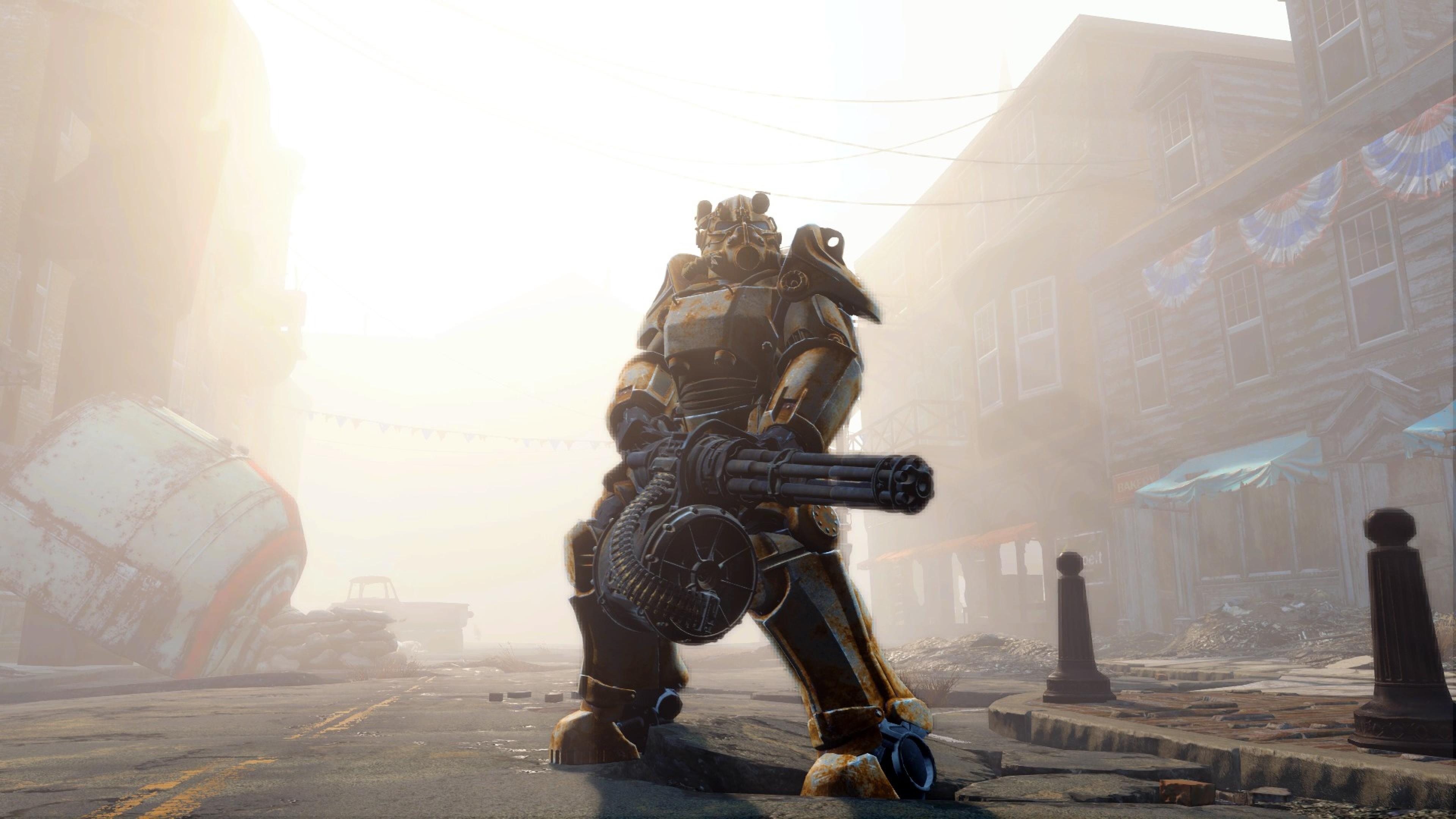 Preview wallpaper fallout 4, gun, armor 3840×2160