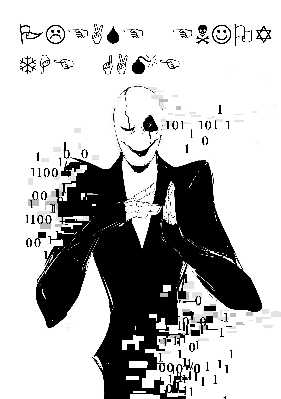 Spoopy Gaster by Whateverchancomics Undertale fanart, illustration, binary,  glitchy
