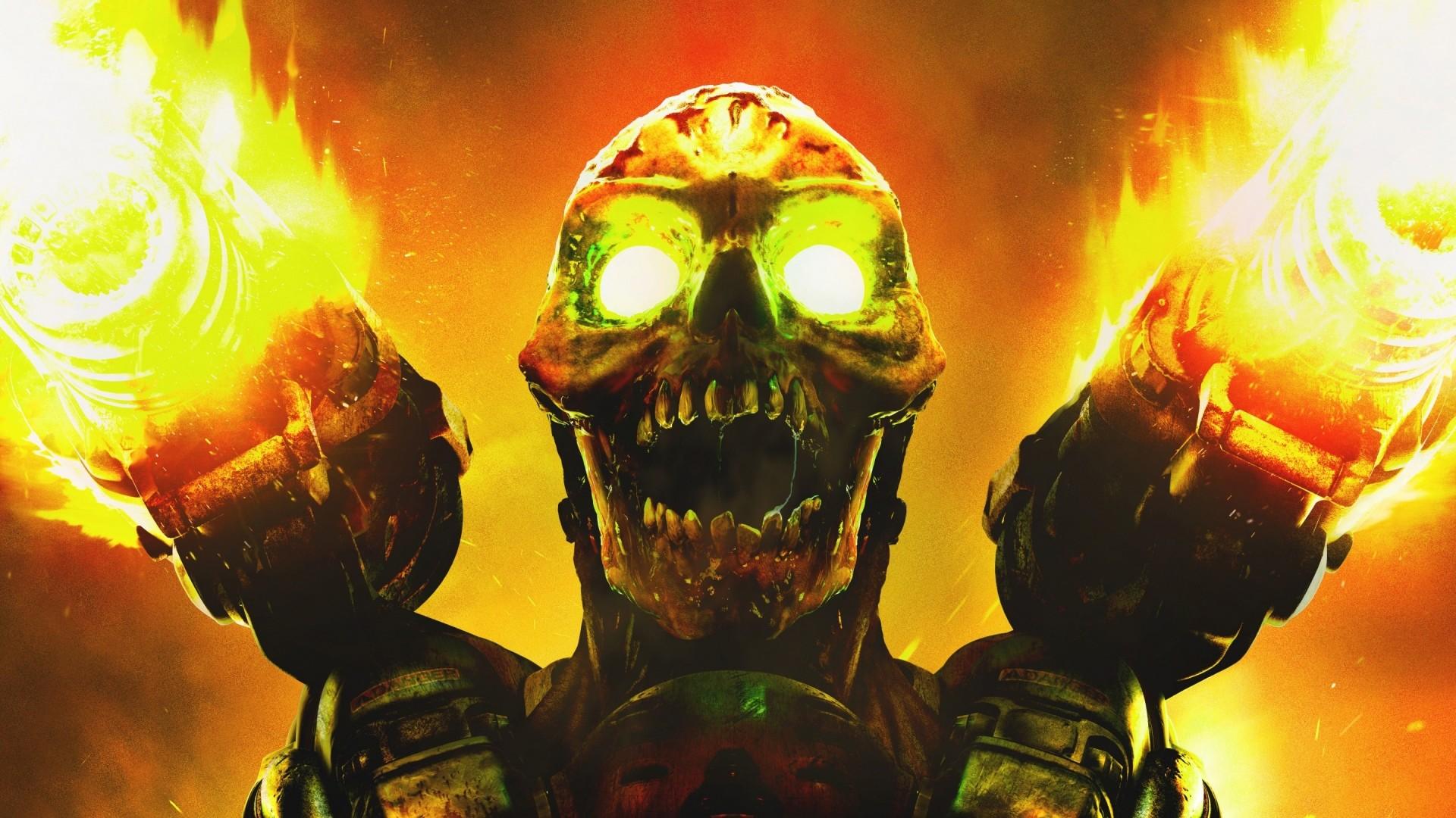 Wallpaper doom, skull, fire, monster