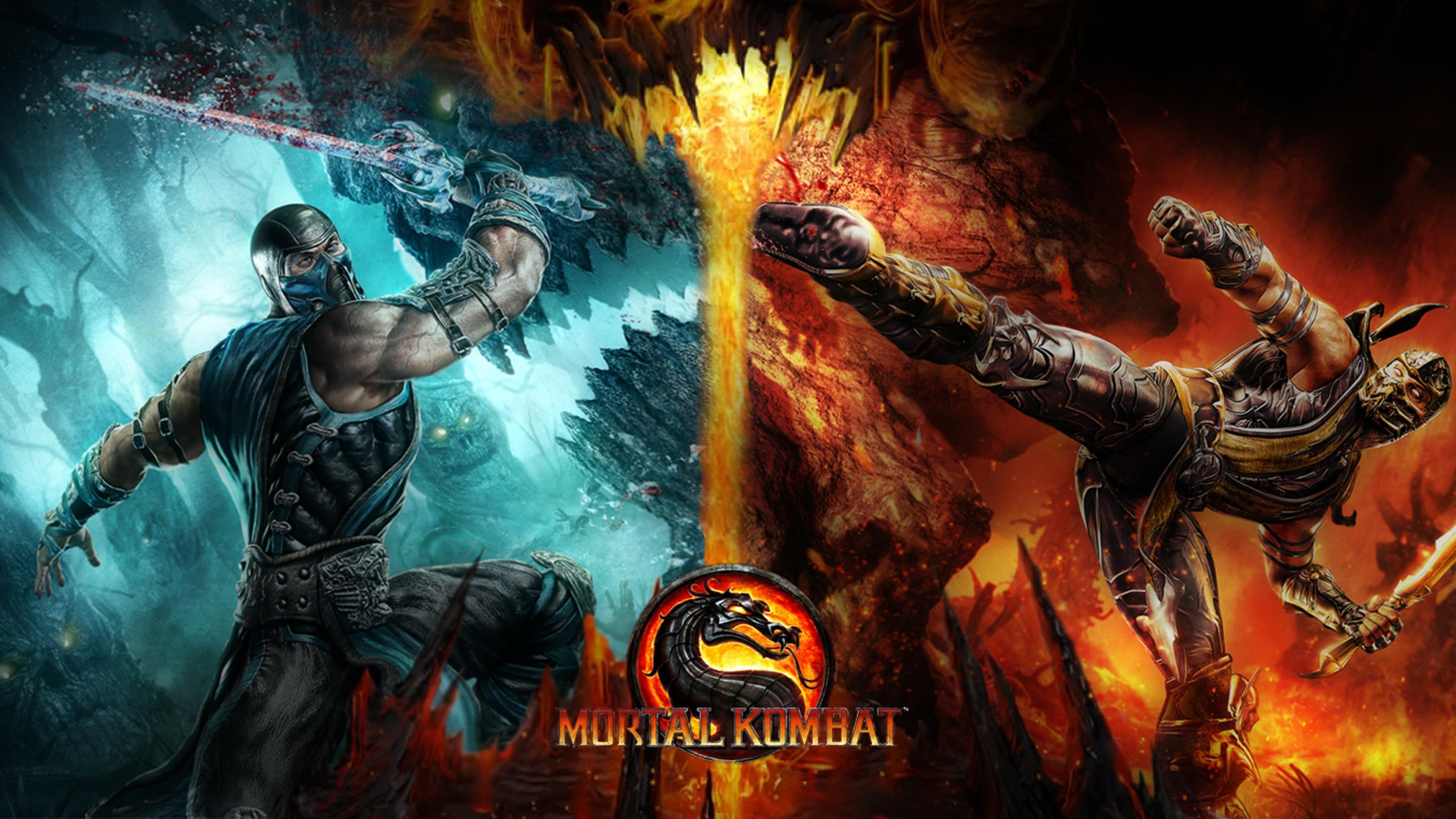 Preview wallpaper mortal kombat, cold, fire, dragon, game 3840×2160