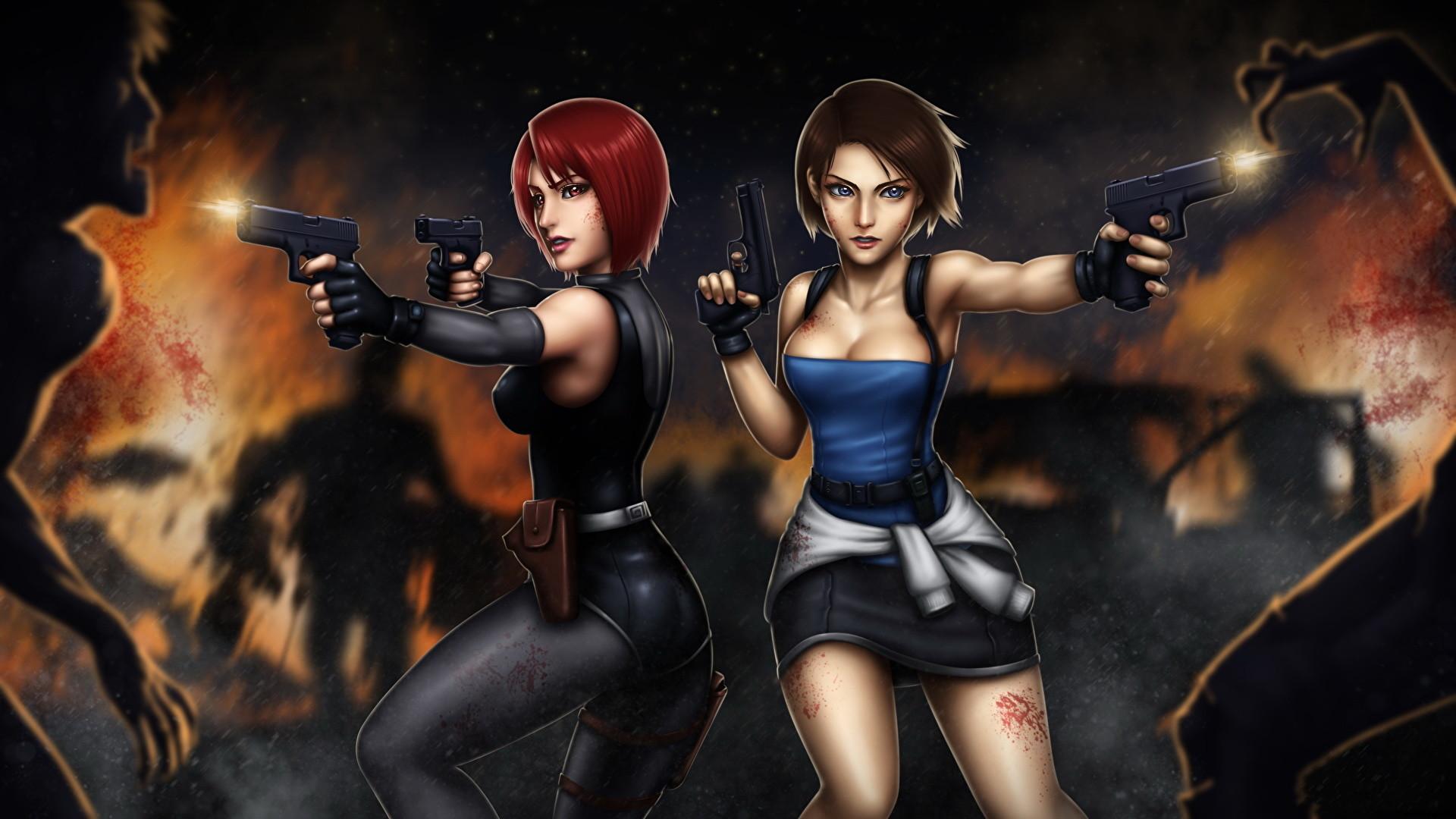 Wallpaper Resident Evil Zombie Firing Pistols Redhead girl Brown haired 3,  Regina, Jill Valentine