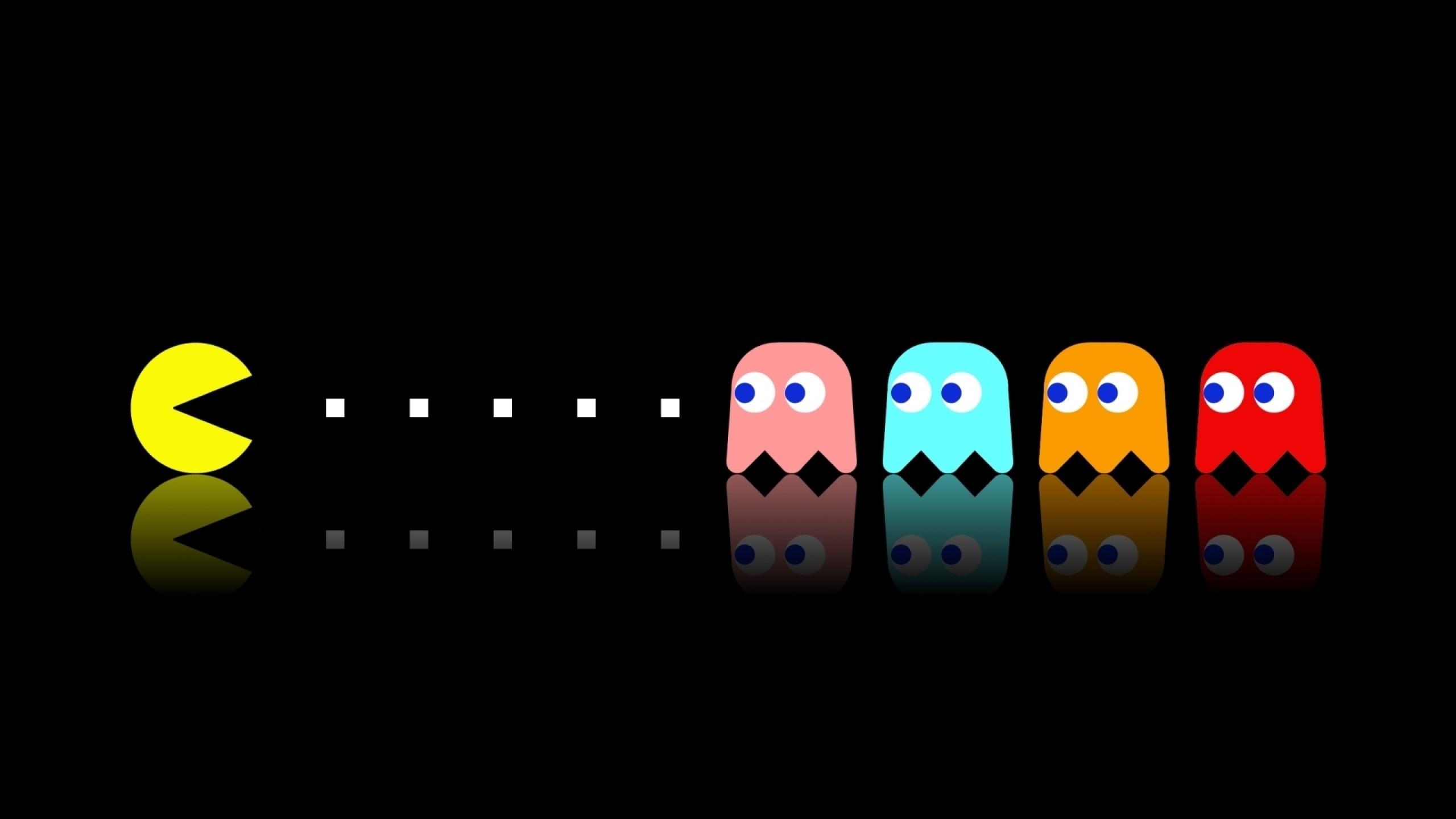 Download Wallpaper pacman, game, multi-colored, eating Mac .