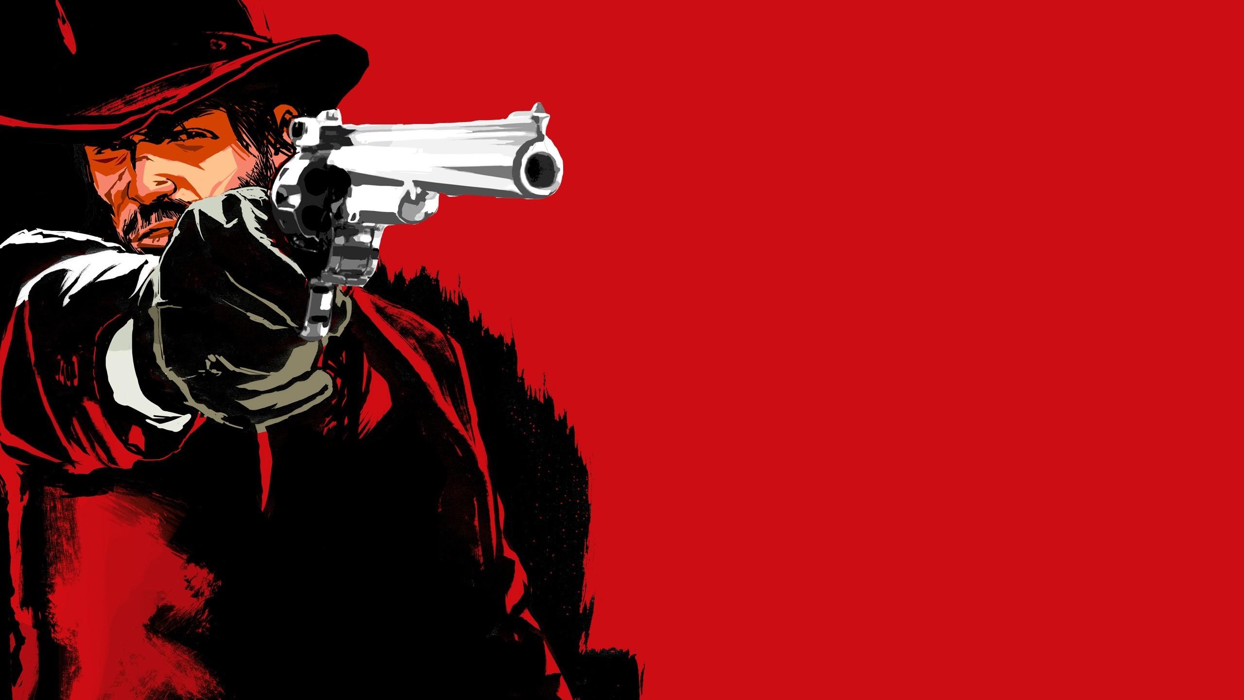 Wallpaper red dead redemption game, pistol, cowboy, hat