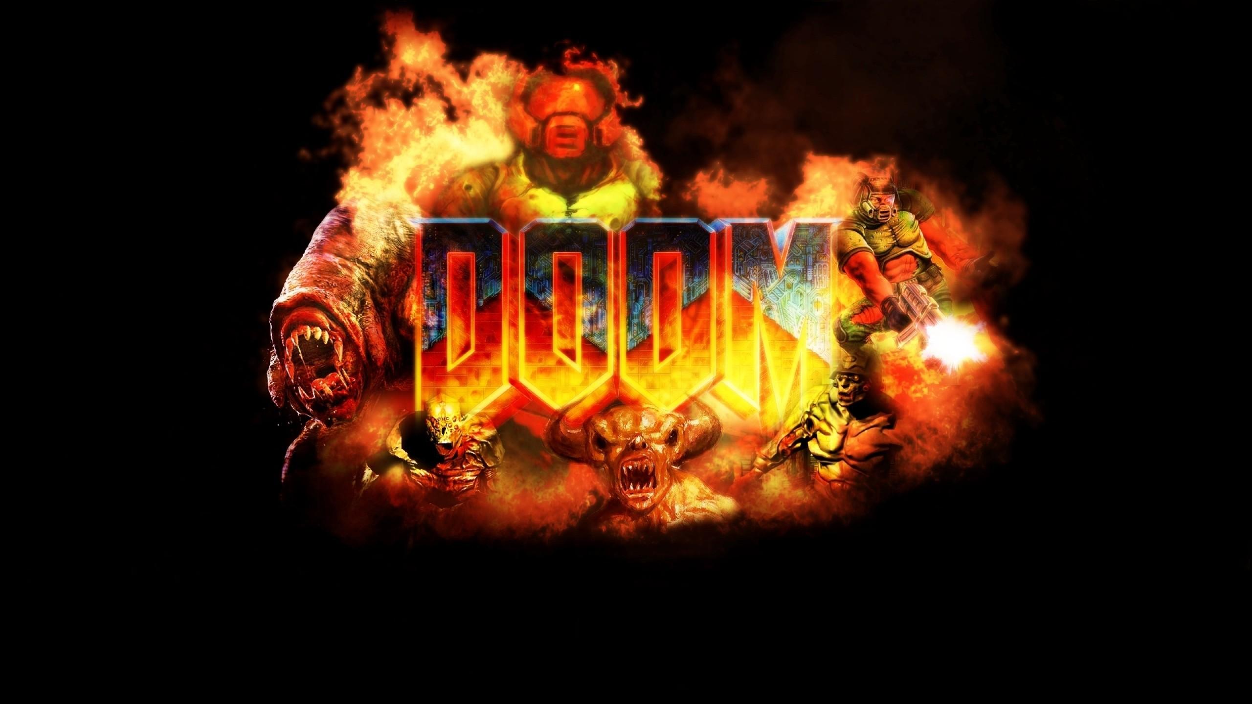Wallpaper doom, game, logo, explosion, fire