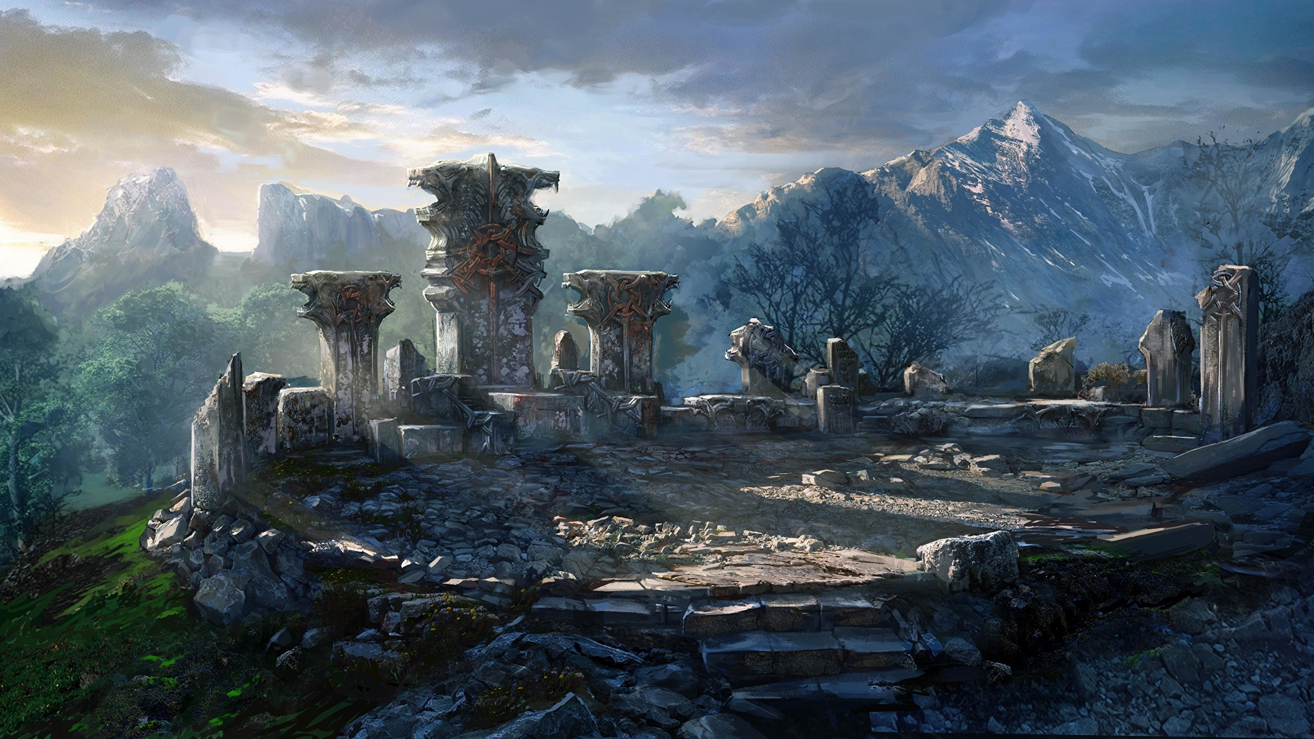 Images The Witcher 3: Wild Hunt Mountains Games Ruins 2560×1440