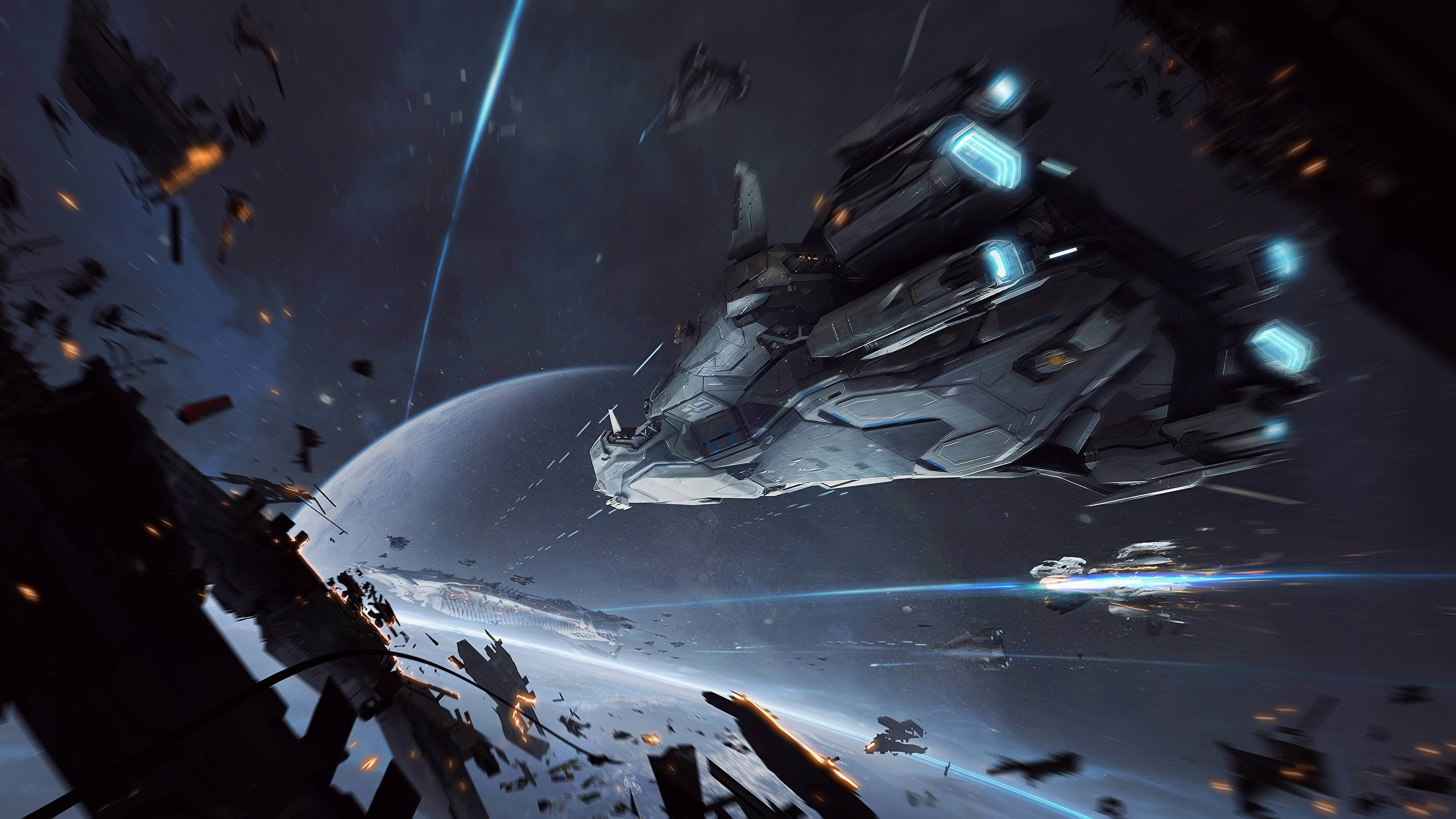 Photo Star Citizen Space Fantasy Games Ships Battles 2560×1440