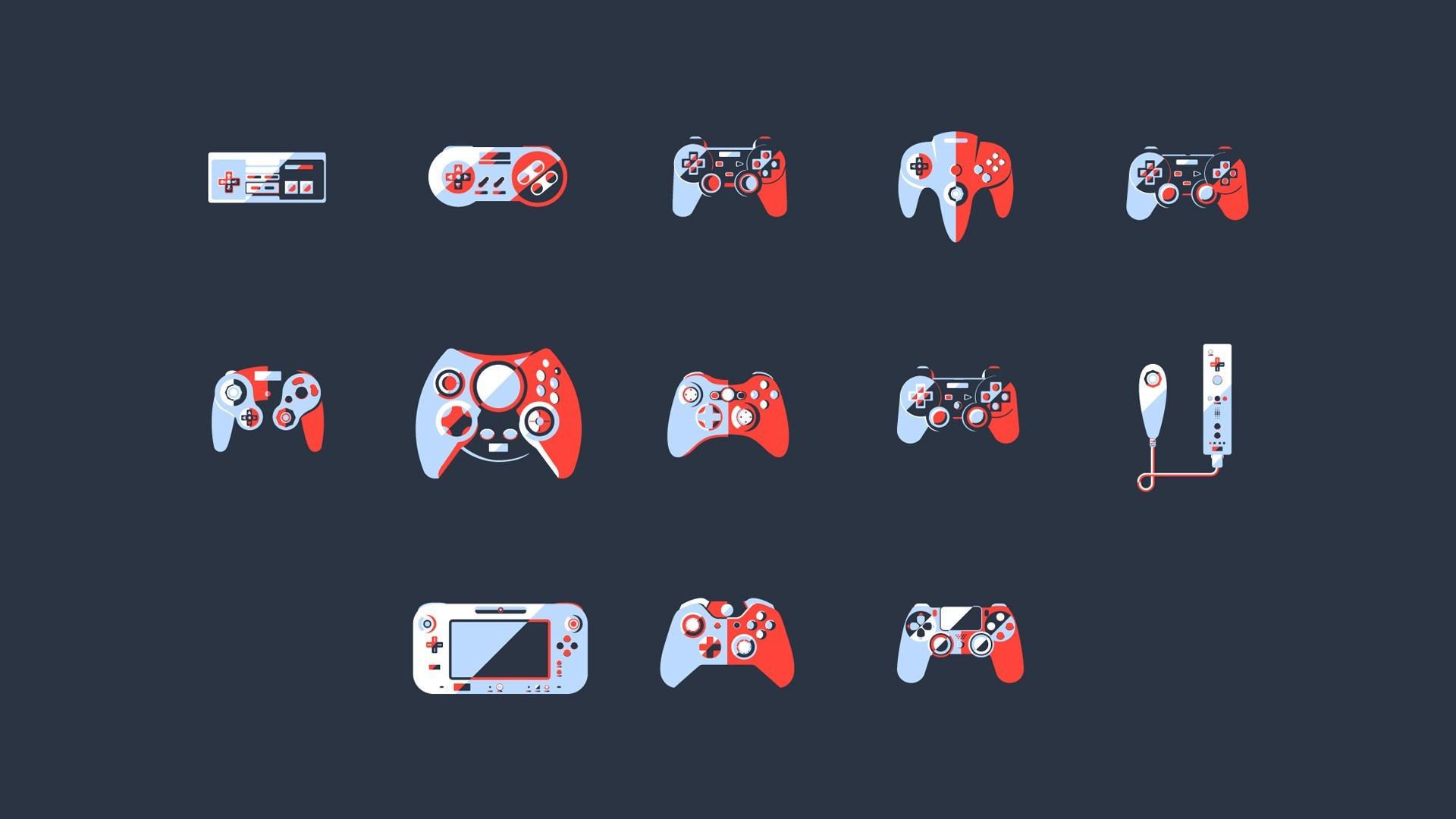 General video games controllers simple background PlayStation  Xbox Nintendo Entertainment System minimalism