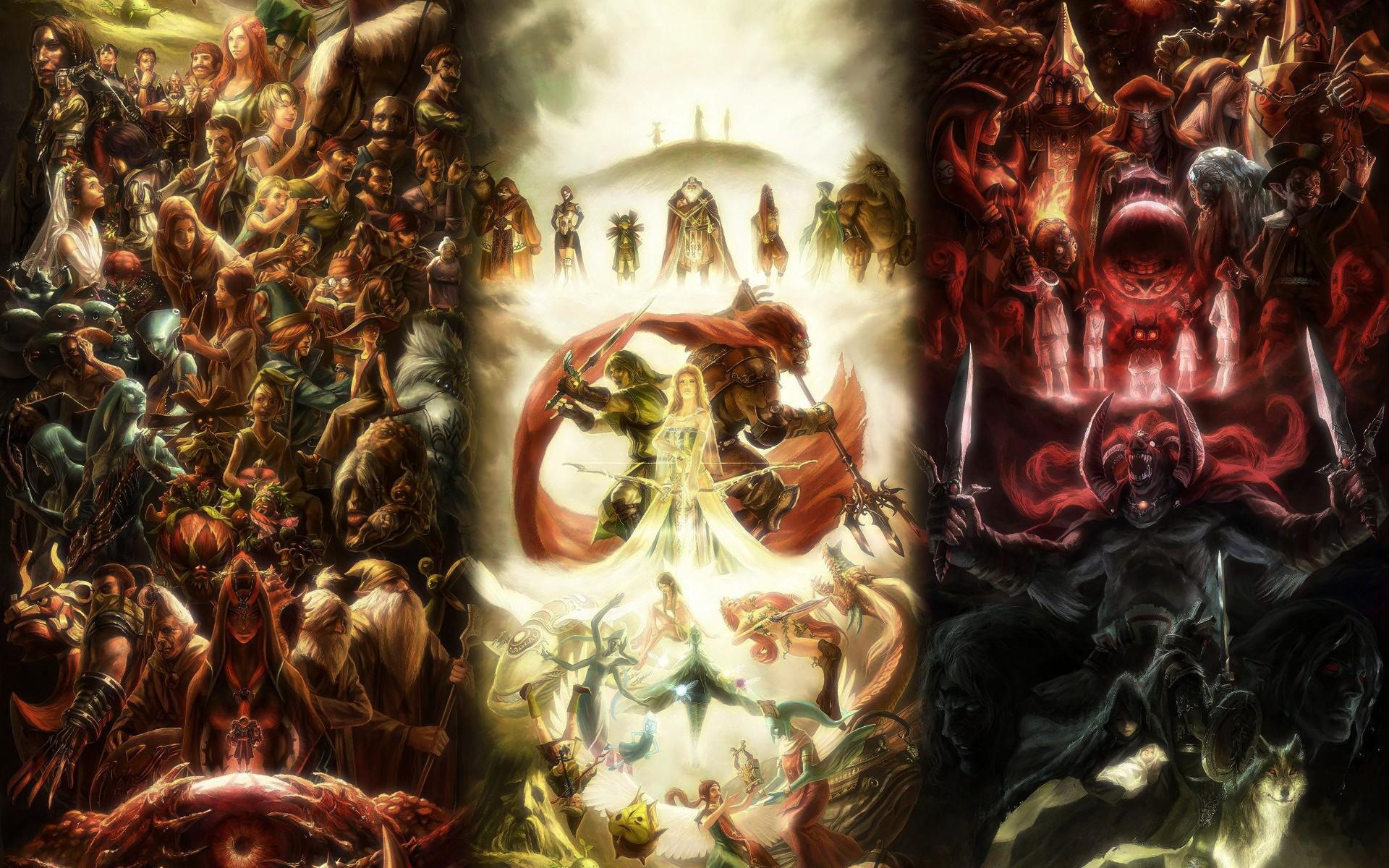 Link, Zelda, Ganondorf, Midna, The Legend of Zelda, The Legend of Zelda:  Majora's Mask, Wind Waker, Collage, Fantasy art, Video games Wallpapers HD  …