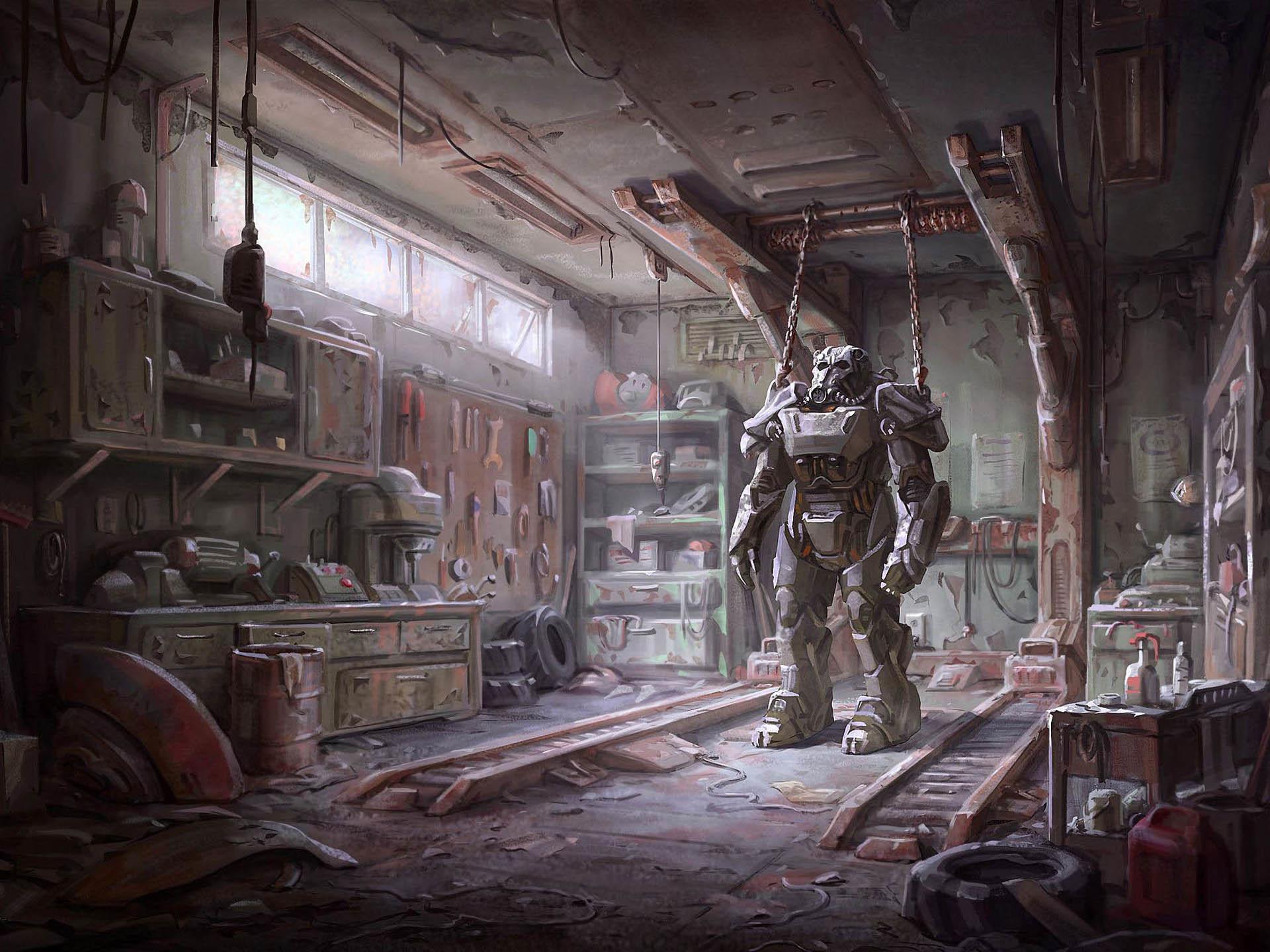 Fallout 4 Concept Art – Armor in the Garage wallpaper