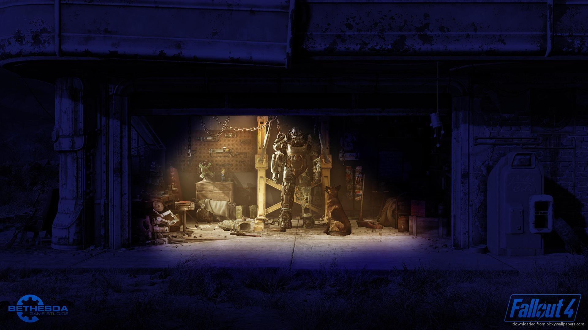 2560×1440 Fallout 4 Garage Night Wallpaper wallpaper