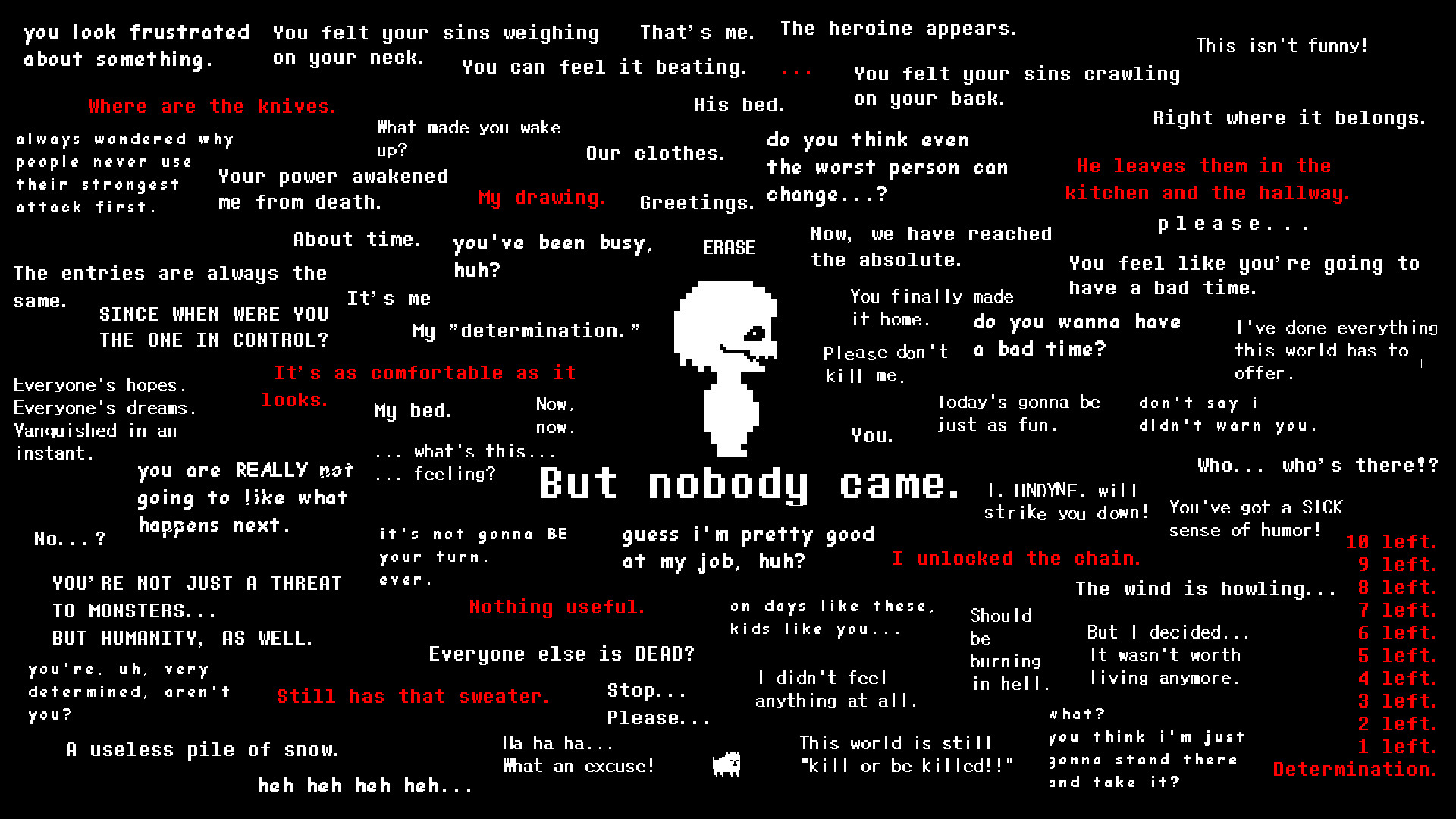 """Undertale Genocide Wallpaper – """"But Nobody Came."""""""