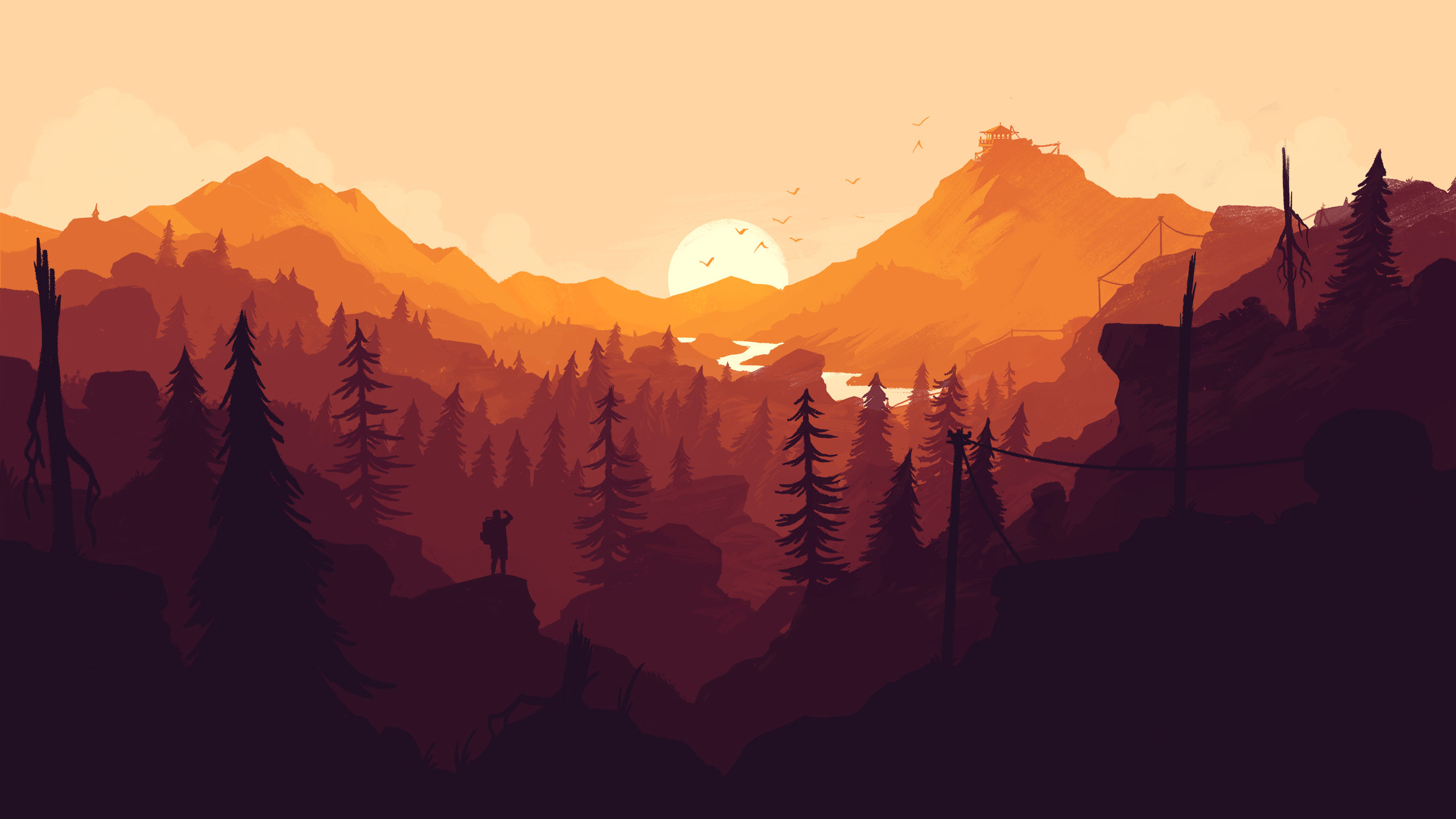 Firewatch videogame wallpaper. Colorful landscape wallpaper, mountains,  forest, trees, nature,