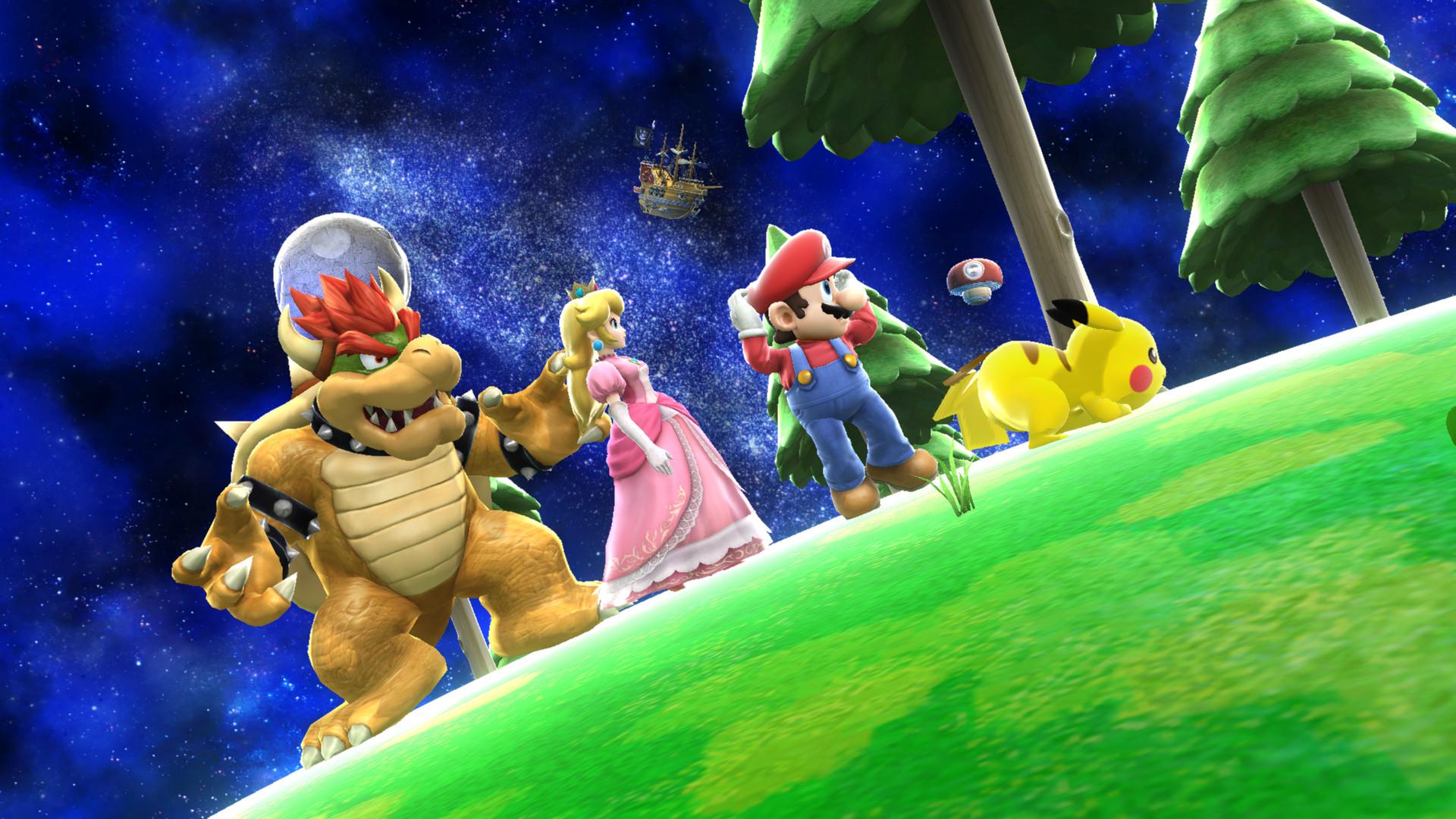 … Mario, Peach, Bowser, and Pikachu Smash Bros by Rosalina-Luma