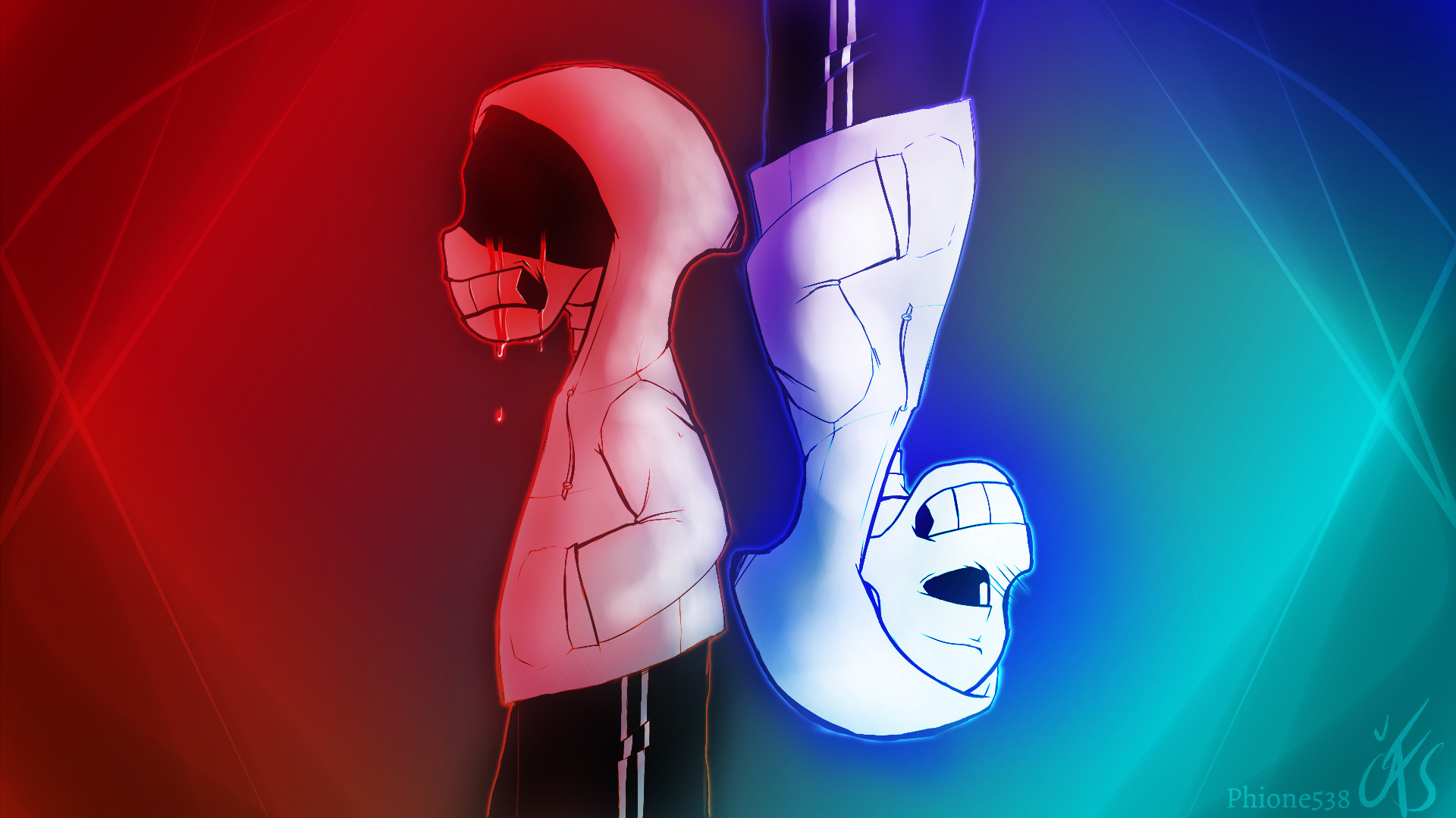… Undertale – Both Sides of Sans [HD Wallpaper] by Phione538