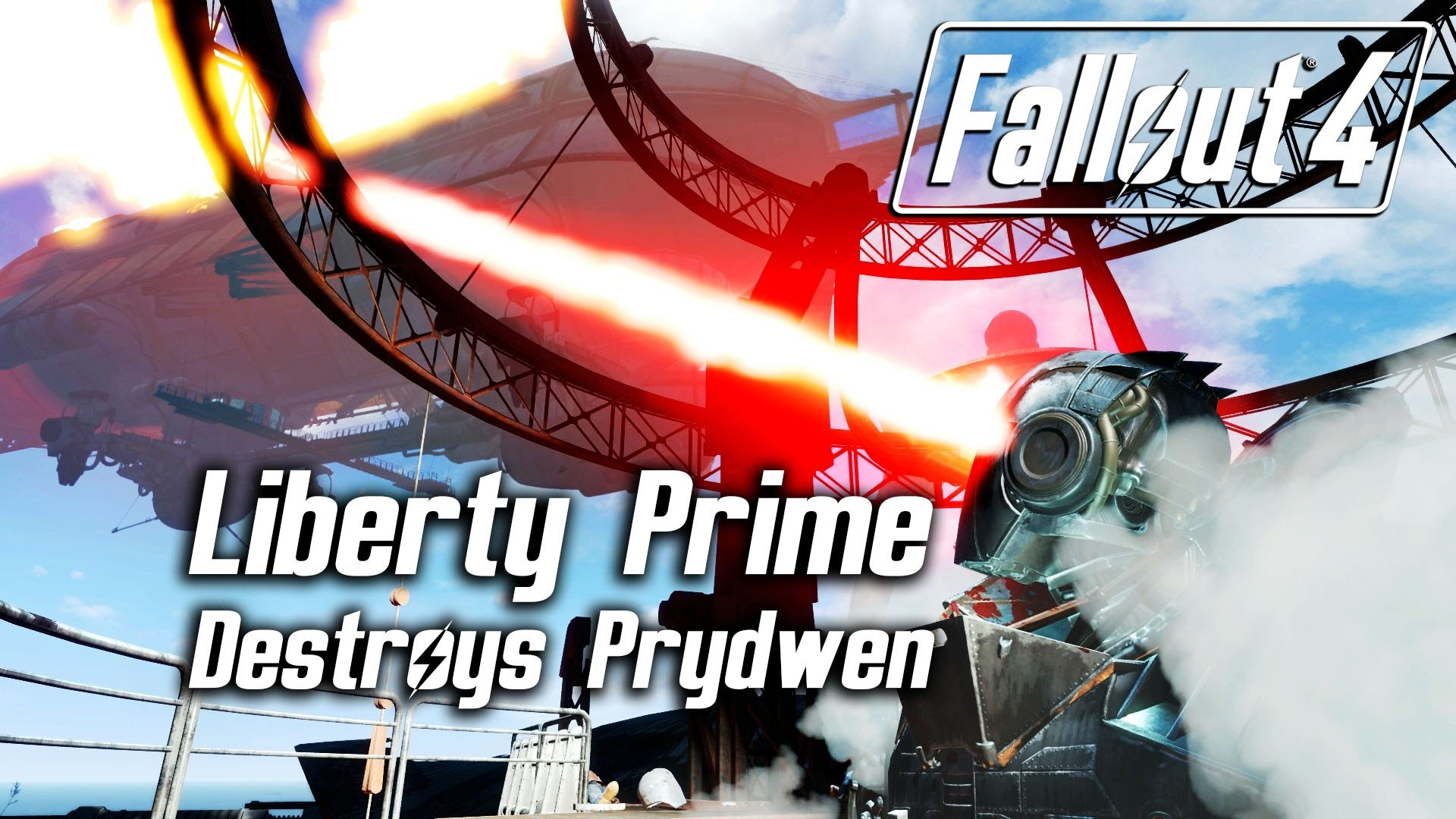 Fallout 4 – Liberty Prime destroys The Prydwen via her dual eye lasers –  YouTube