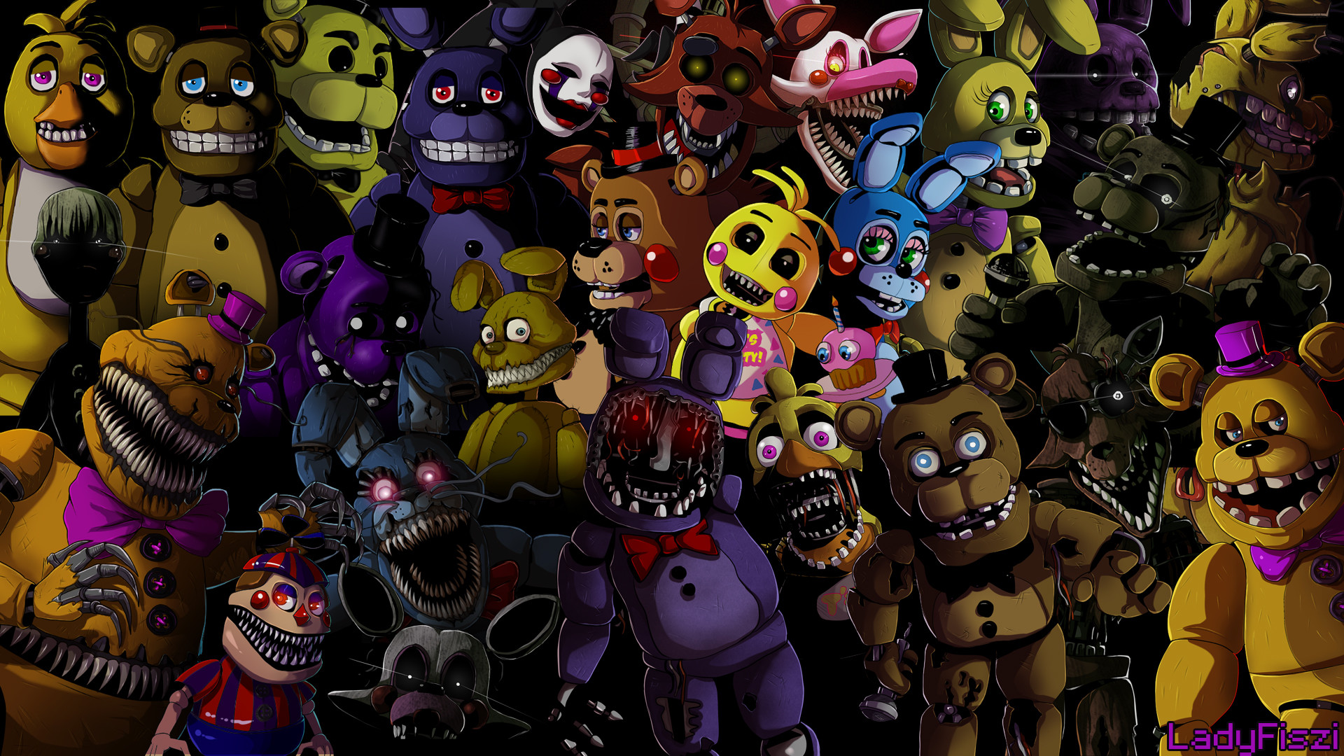 … Five nights at Freddy's animatronics wallpaper by LadyFiszi