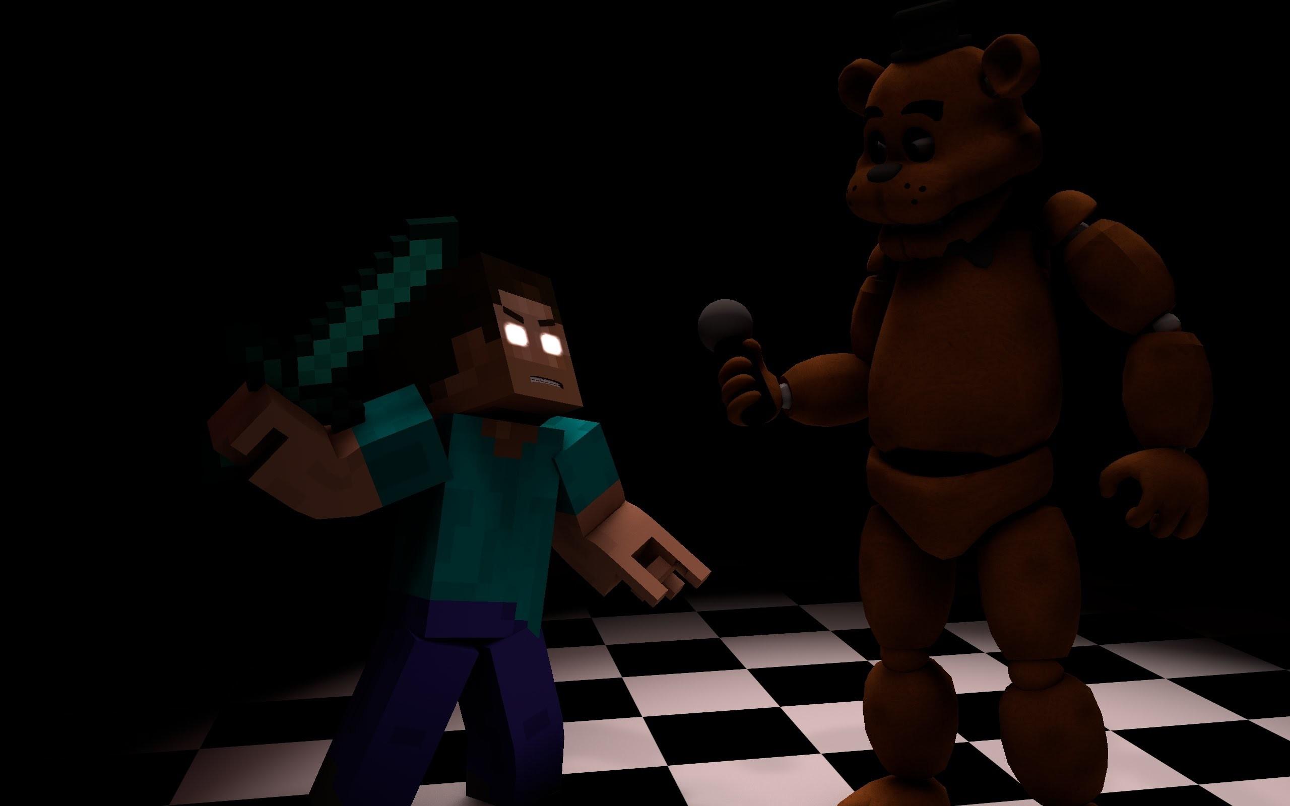 FNAF: Freddy VS Herobrine   Minecraft Timelapse   (Five nights at Freddy´s  – YouTube