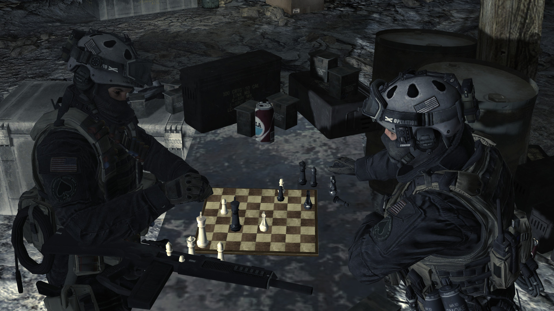 Image – Shadow Company soldiers playing chess Just Like Old Times MW2.png |  Call of Duty Wiki | FANDOM powered by Wikia