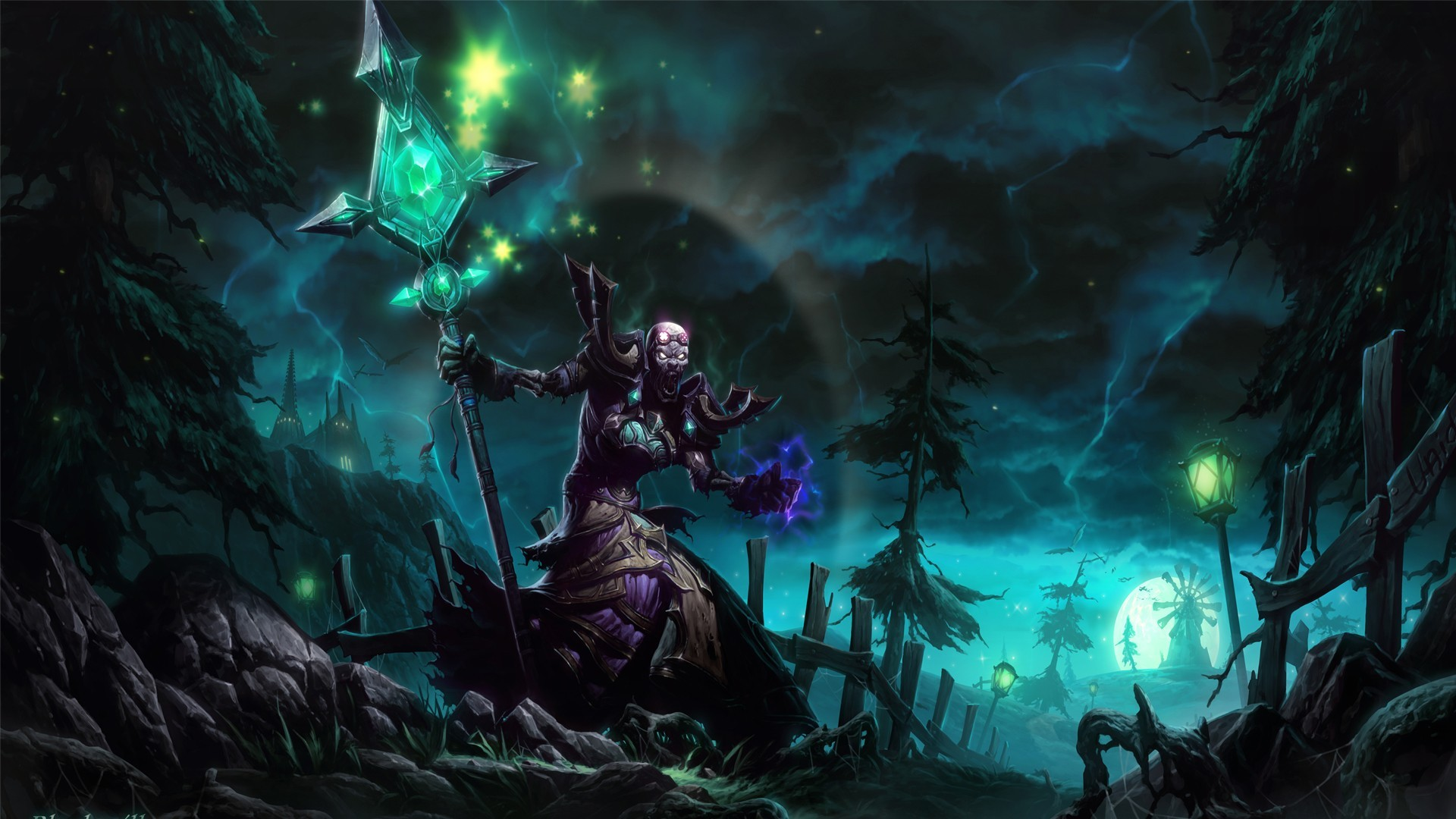 Wallpapers :: Mage, trees, fences, World of Warcraft, undead, grass