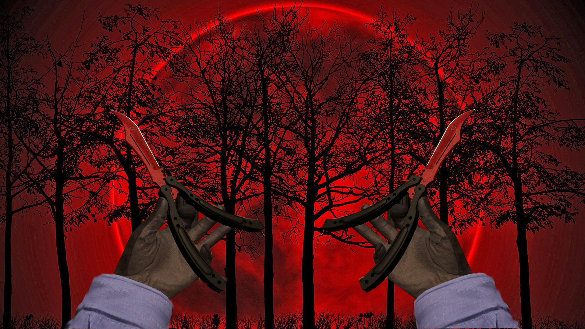 CS:Go Butterfly Knife | Crimson Web Wallpapee