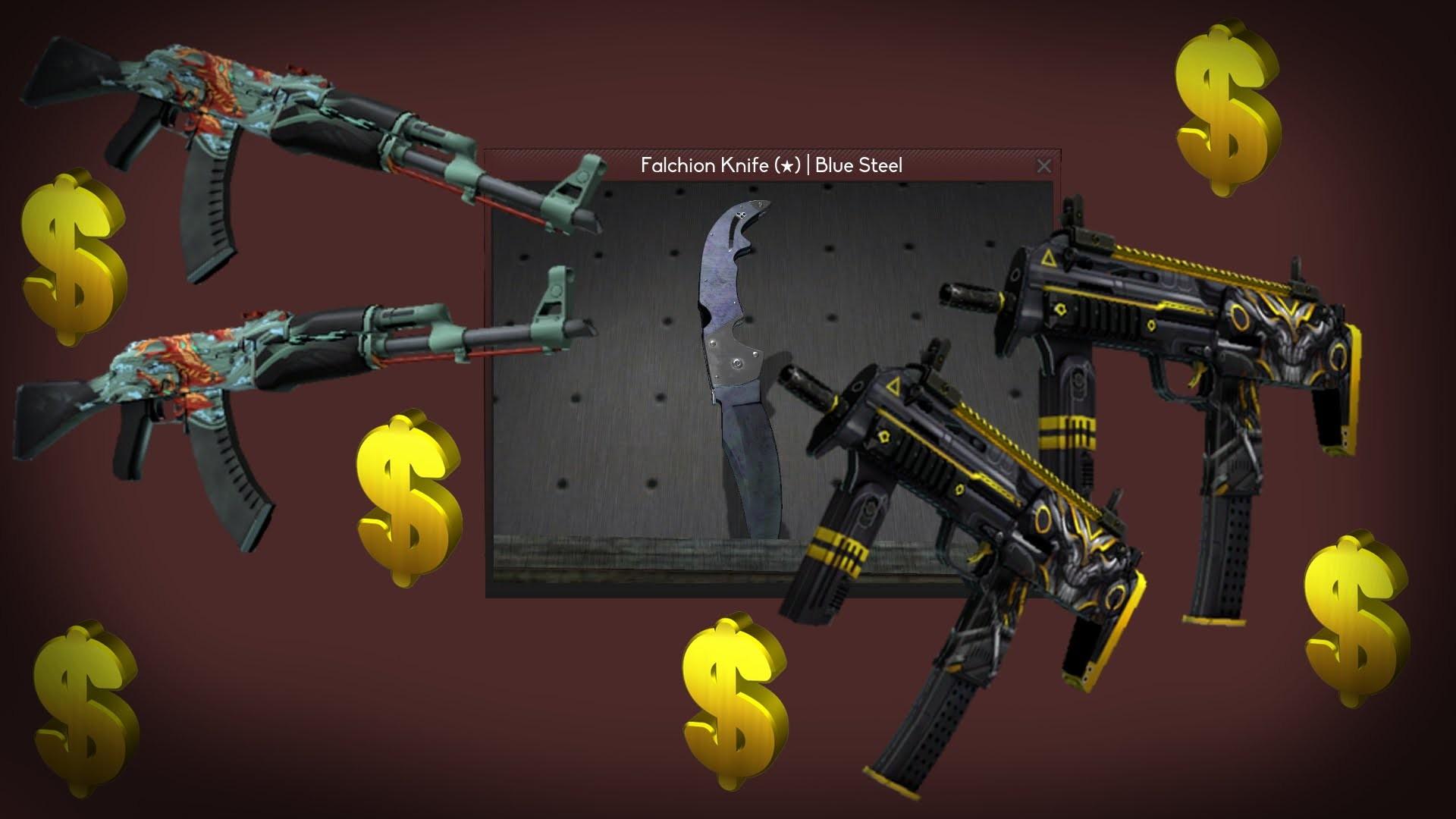 CS:GO – Falchion Knife | Fade & Blue Steel, AK-47, MP7 Unboxing [HD] –  YouTube