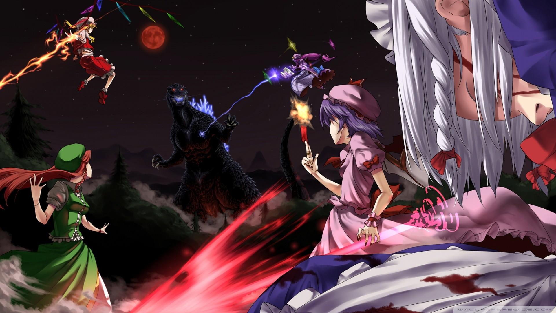 Anime – Touhou Flandre Scarlet Remilia Scarlet Patchouli Knowledge Sakuya  Izayoi Hong Meiling Wallpaper
