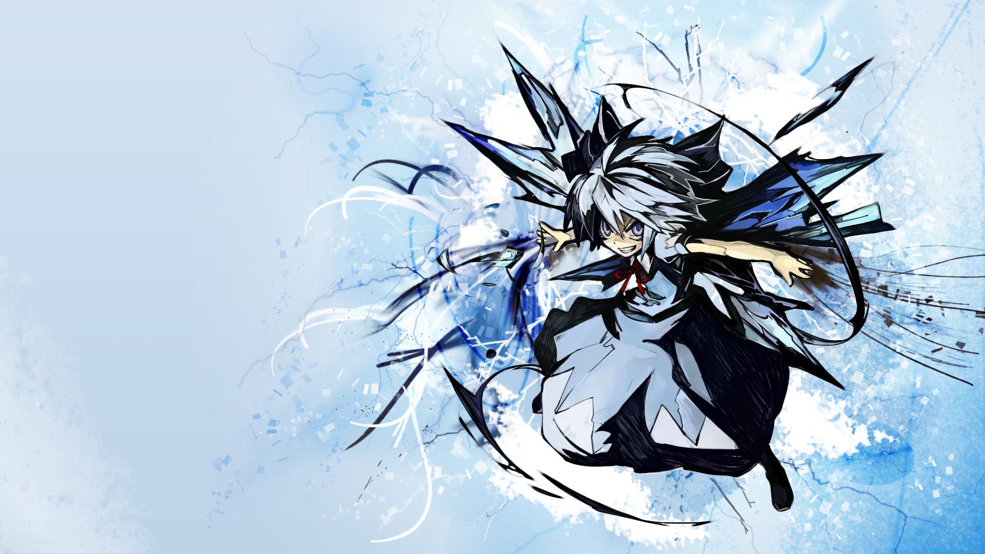 Anime – Touhou White Hair Cirno (Touhou) Anime Grey Eyes Video Game  Wallpaper