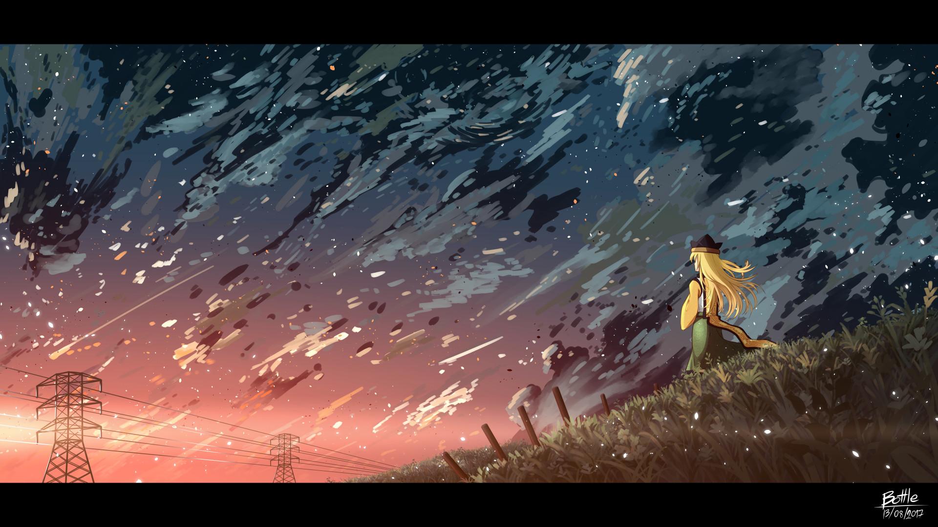 Tags: Anime, Pixiv Id 7946660, Touhou, Matara Okina, Grass Field,