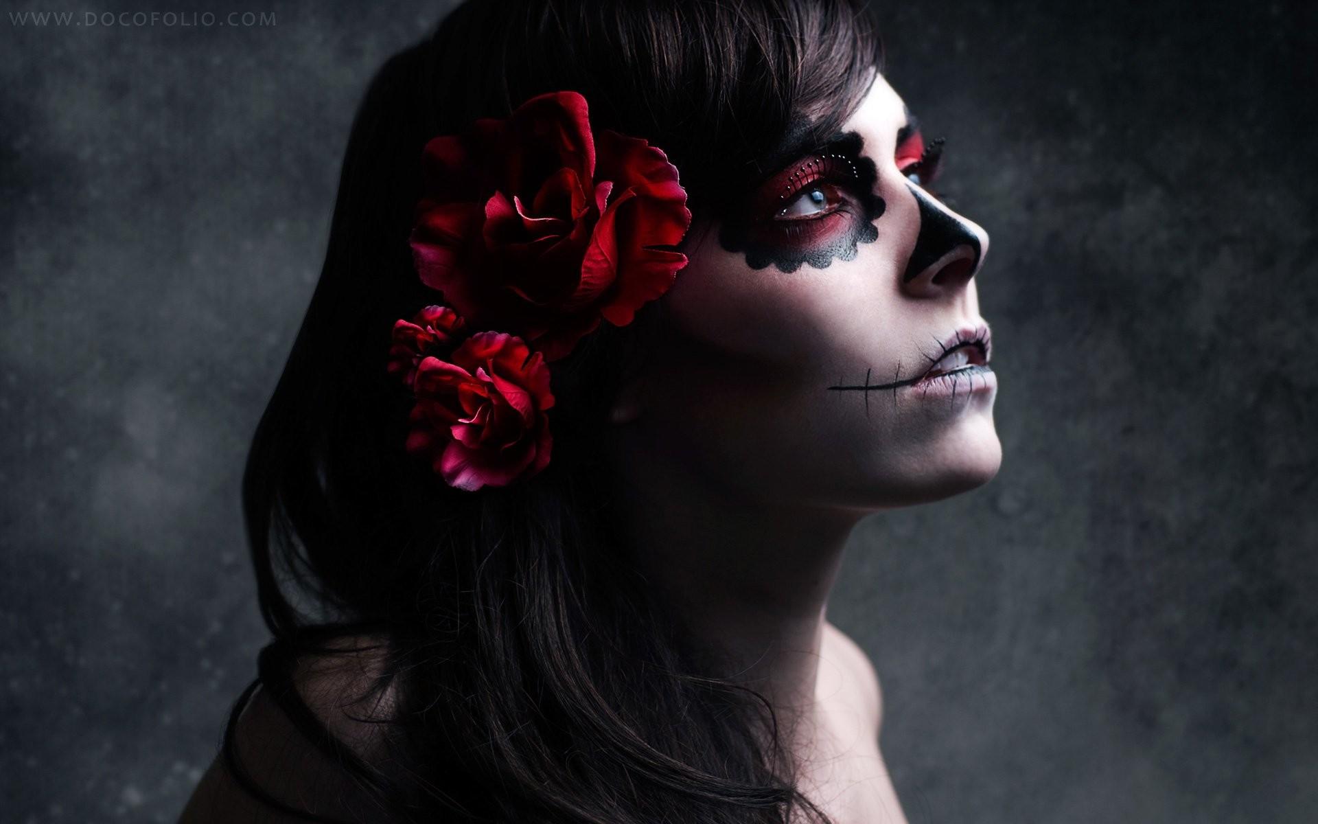 Brunettes Women Skulls Flowers Roses Sugar Skulls Wallpaper At Dark  Wallpapers