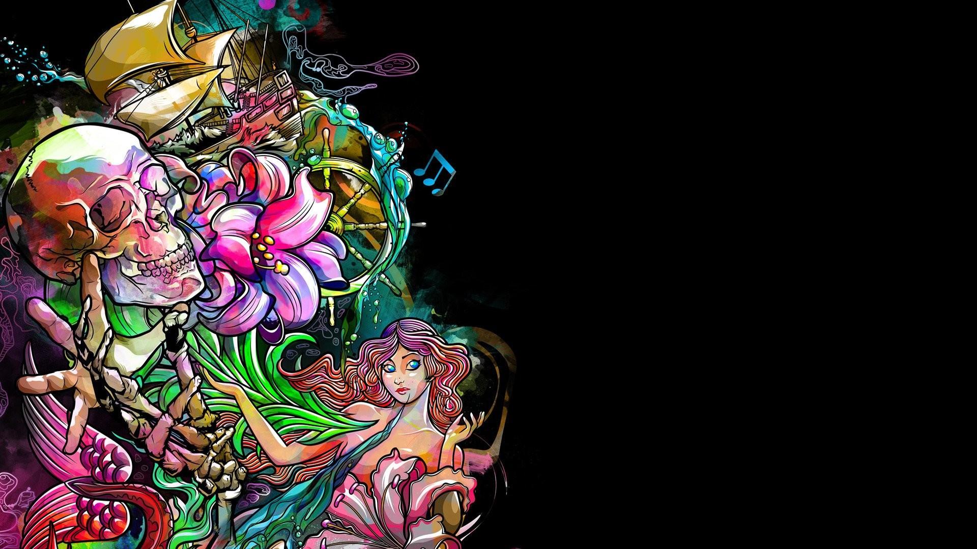 Dark skull fantasy psychedelic tattoo wallpaper     329301 .