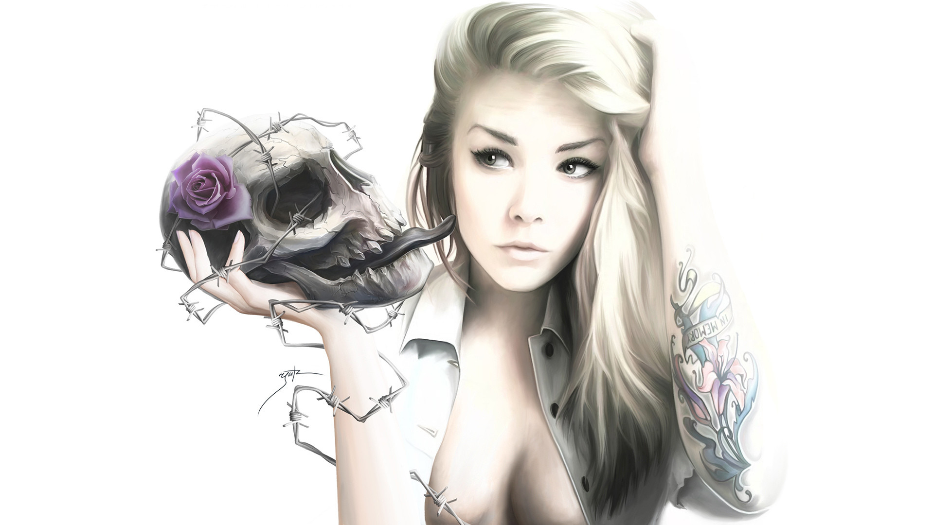 rose, barbed wire, skull, white background, tattoo, girl wallpaper