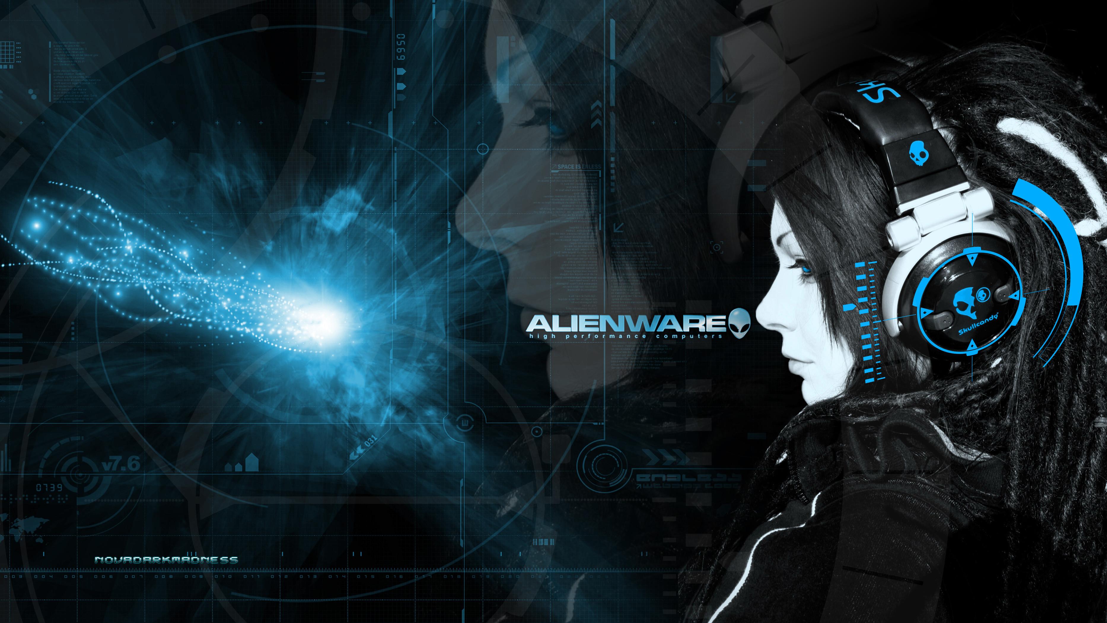 Alienware + Skull Candy Headphones Girl Wallpaper by NovaDarkMadness .