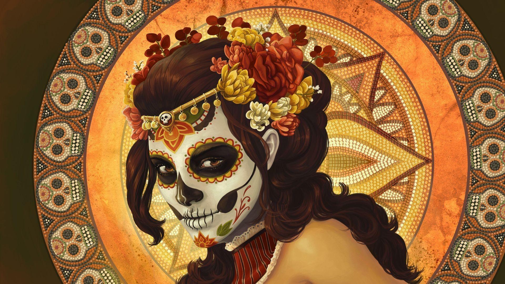 Girl With Skull Mask – Wallpaper #32904