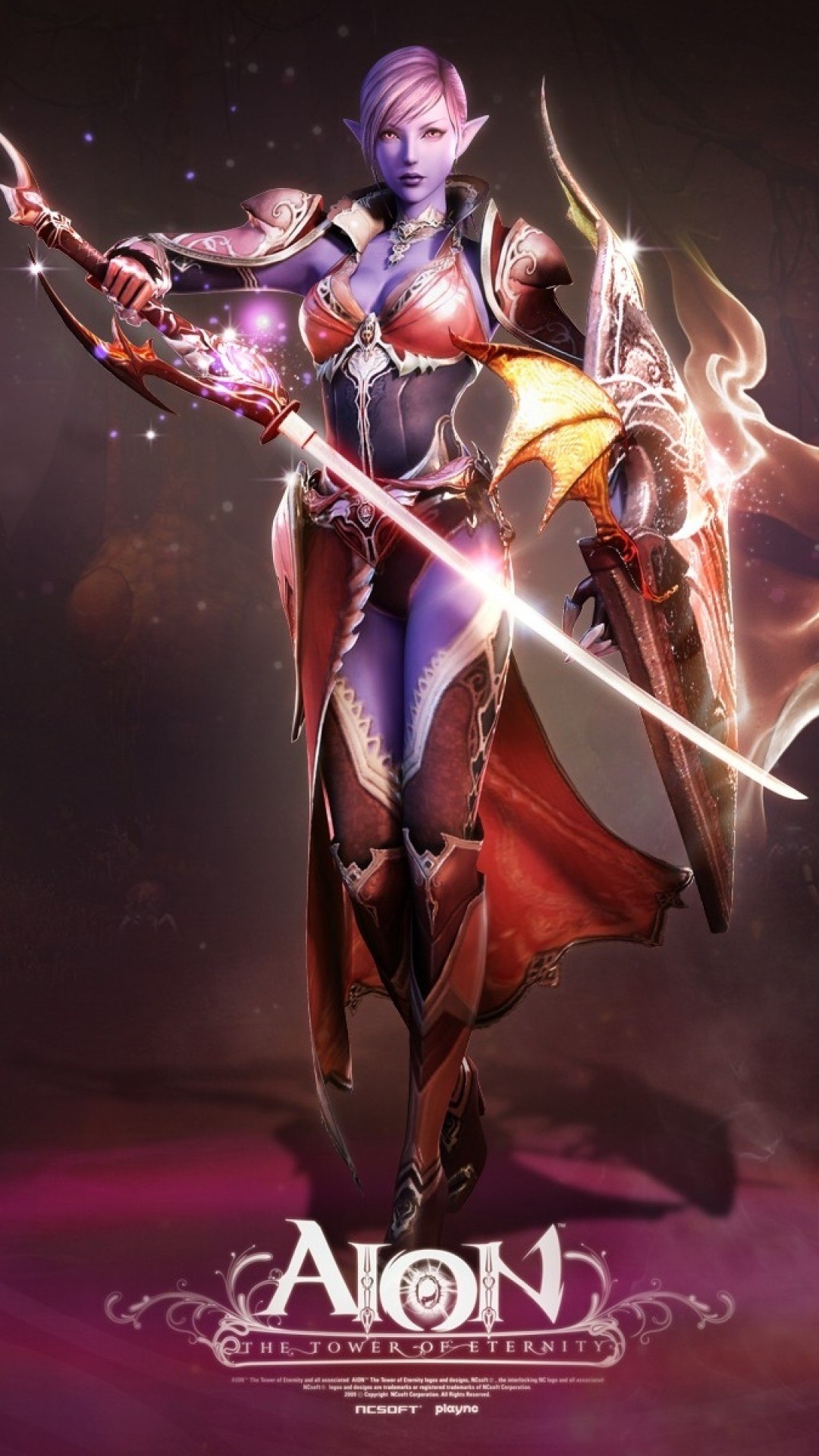 Preview wallpaper aion the tower of eternity, girl, skull, magic, fire,