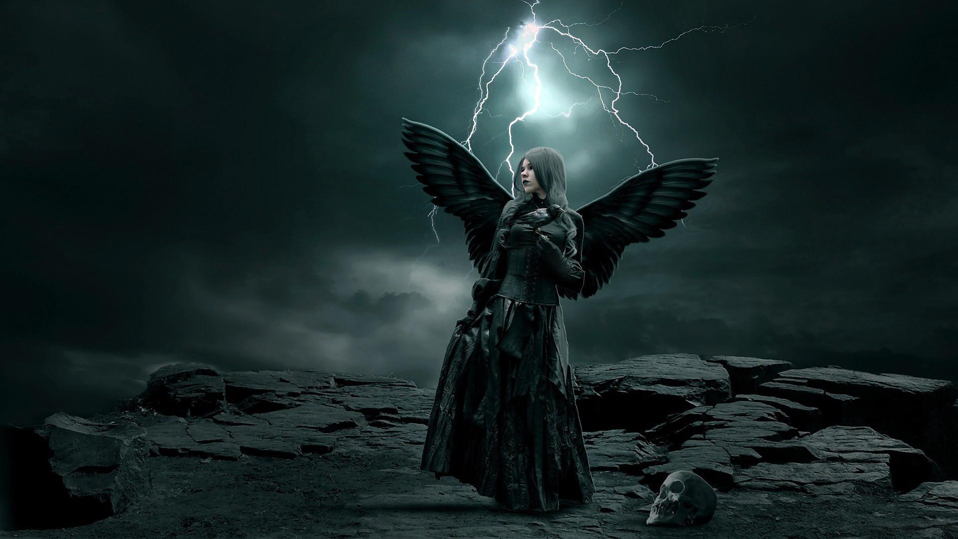 Download Rocks Stones Girl Wings Angel Skull Sky Clouds Lightning Storm  Dark Gothic Wallpaper At Dark Wallpapers