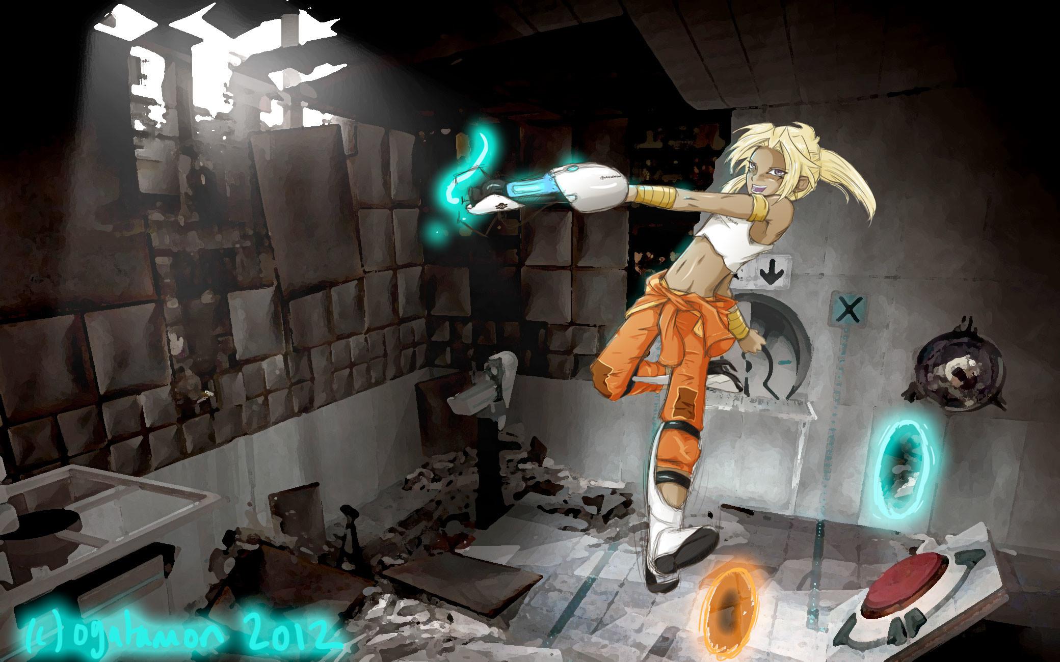 … Marik Plays Portal 2 (wallpaper version) by KaoriOgata