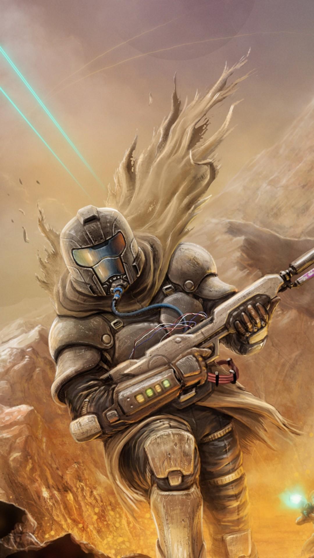 Preview wallpaper destiny, bungie, battle, robots, soldiers, weapons, rocks  1080×1920
