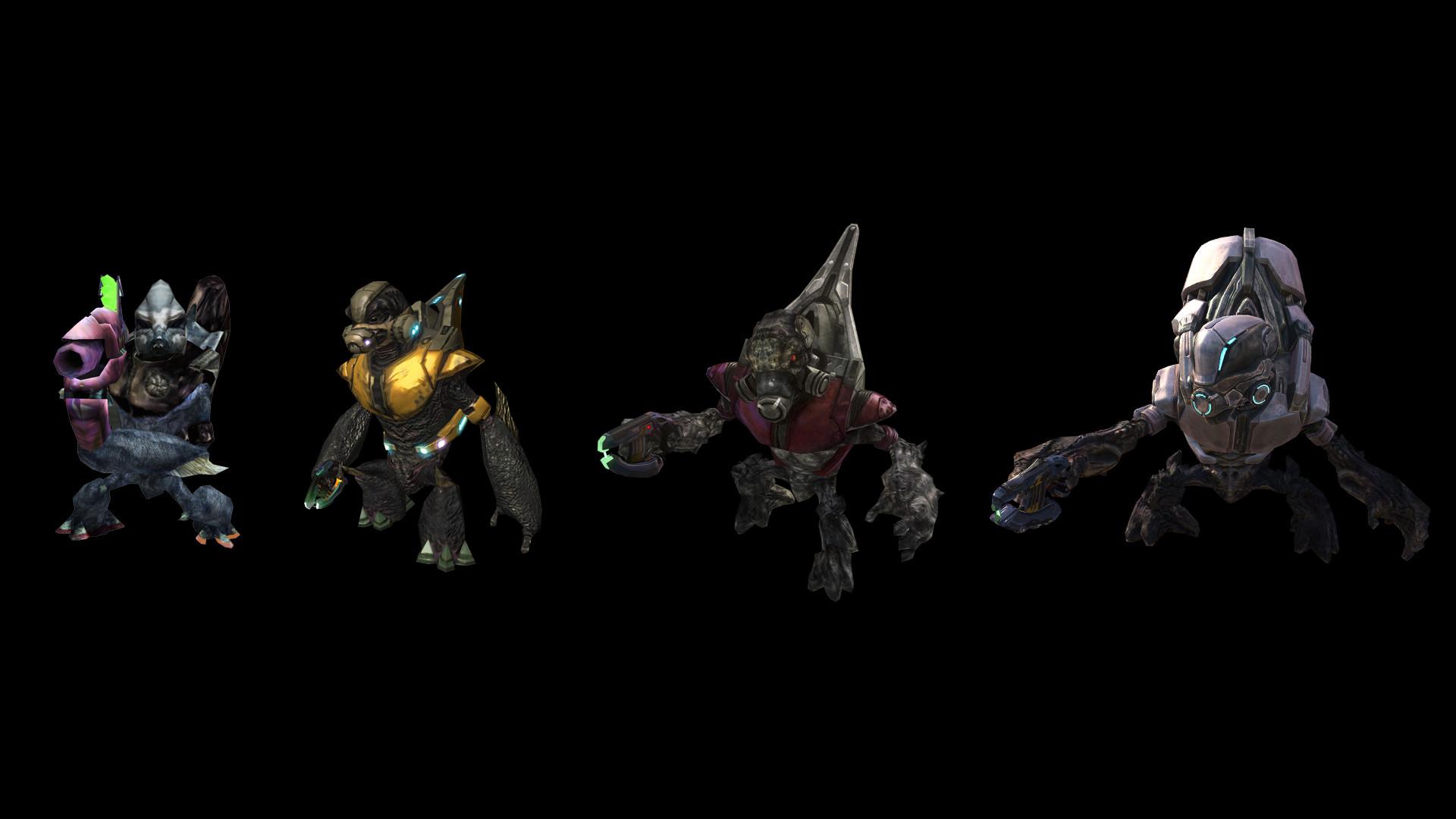 1331 – Covenant Grunt: Evolution of Grunt models, from Halo: Combat Evolved  to