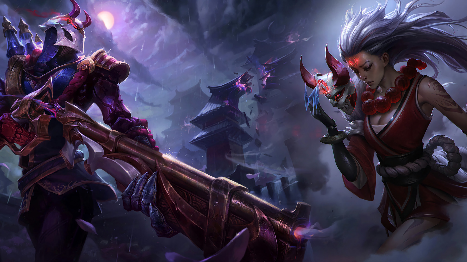 Blood Moon Jhin & Diana by Xilixir Splash Art League of Legends Artwork  Wallpaper lol