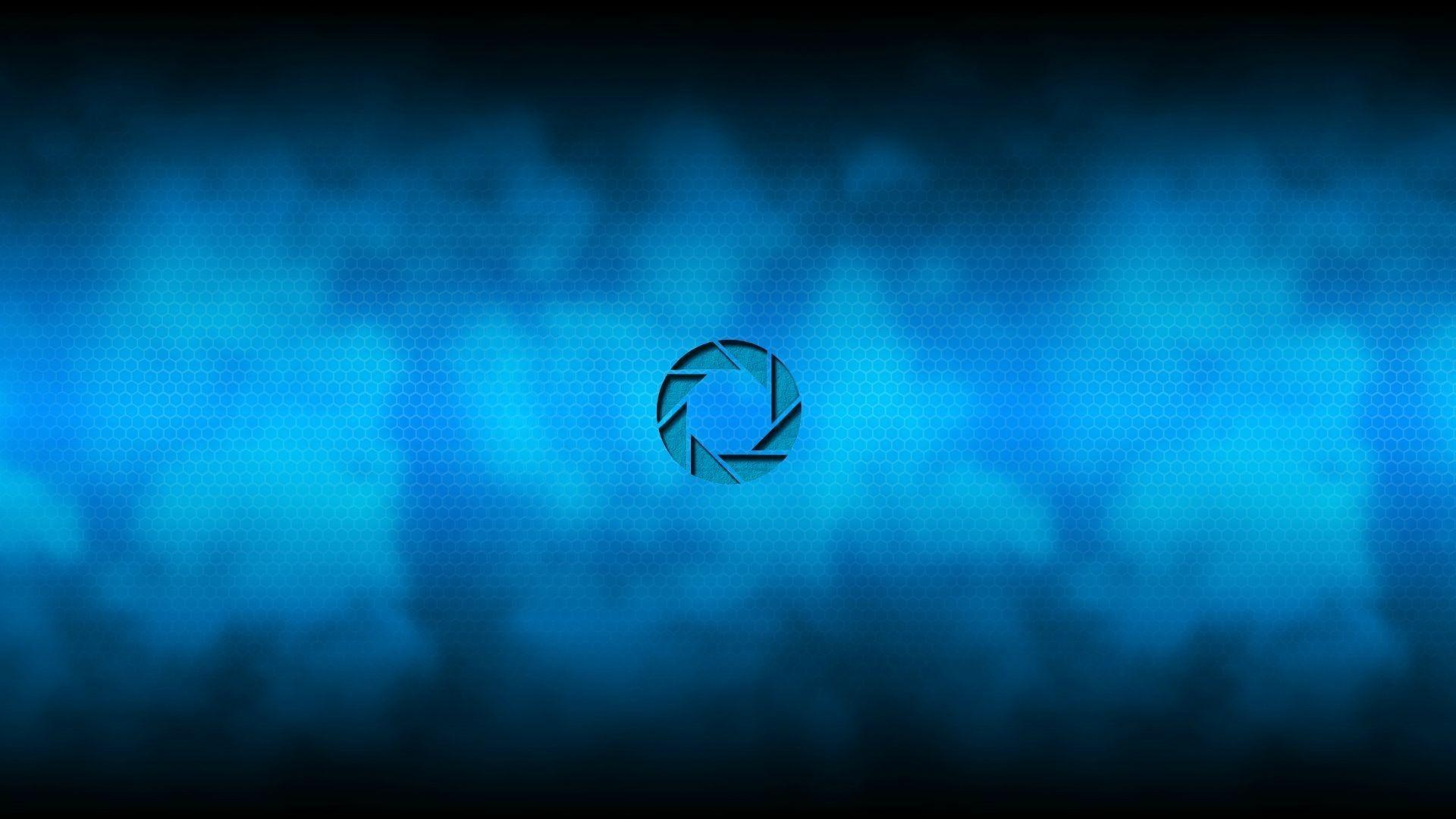 Logo Aperture Science, blue background