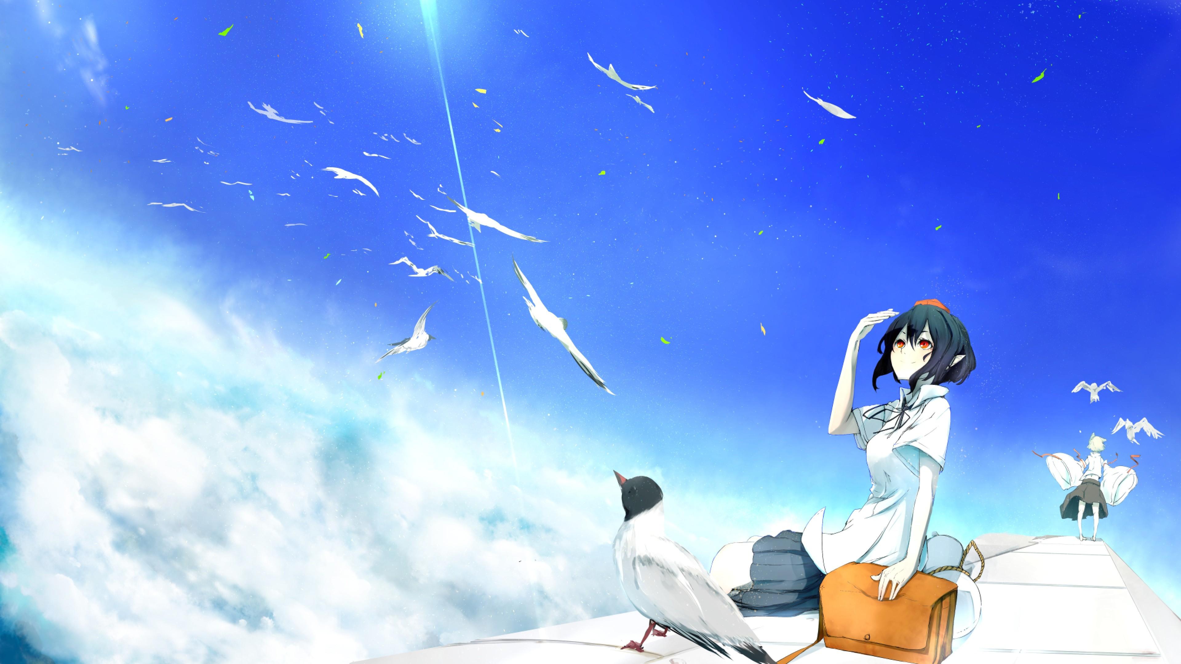 Preview wallpaper touhou, shameimaru aya, inubashiri momiji 3840×2160