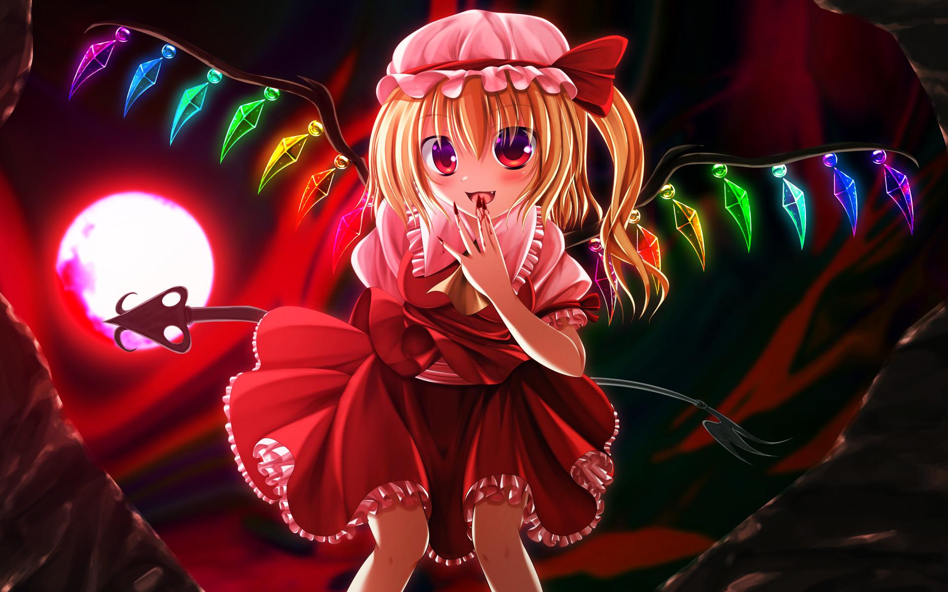 touhou blood flandre scarlet hatomura moon touhou wallpaper background