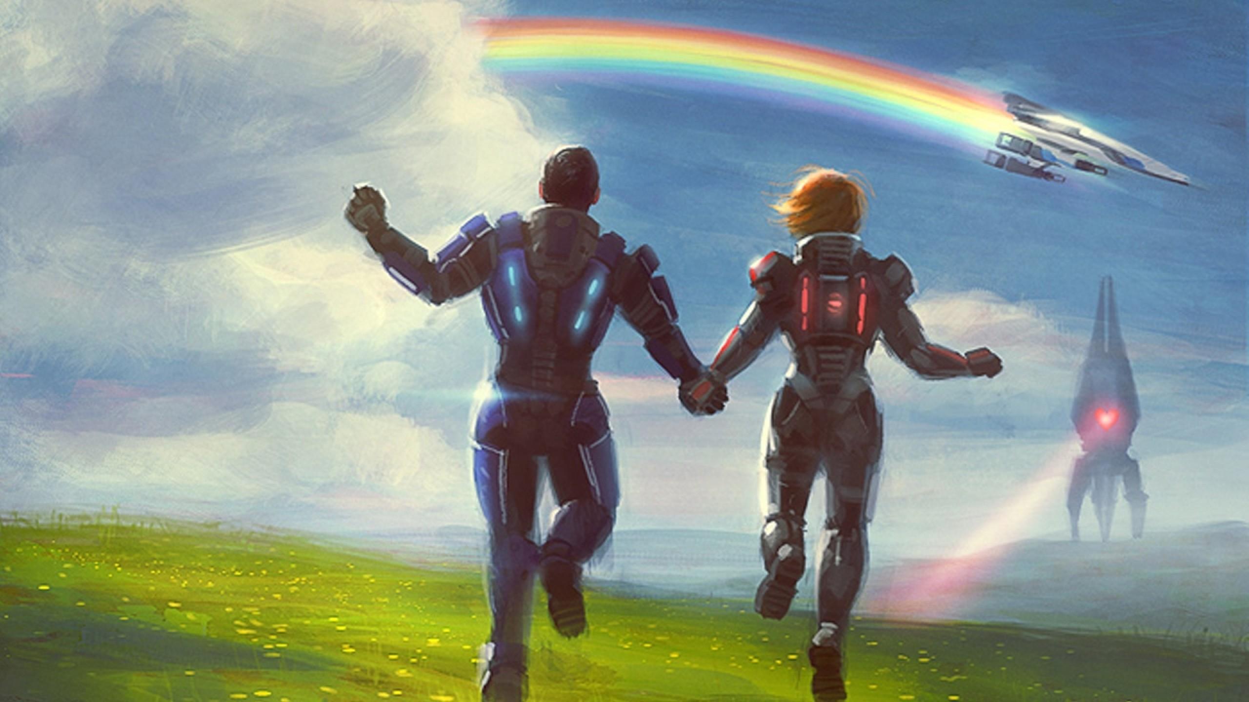 video games normandy reaper rainbows mass effect 3 femshep commander  shepard 1920×1080 wallpaper Art HD Wallpaper