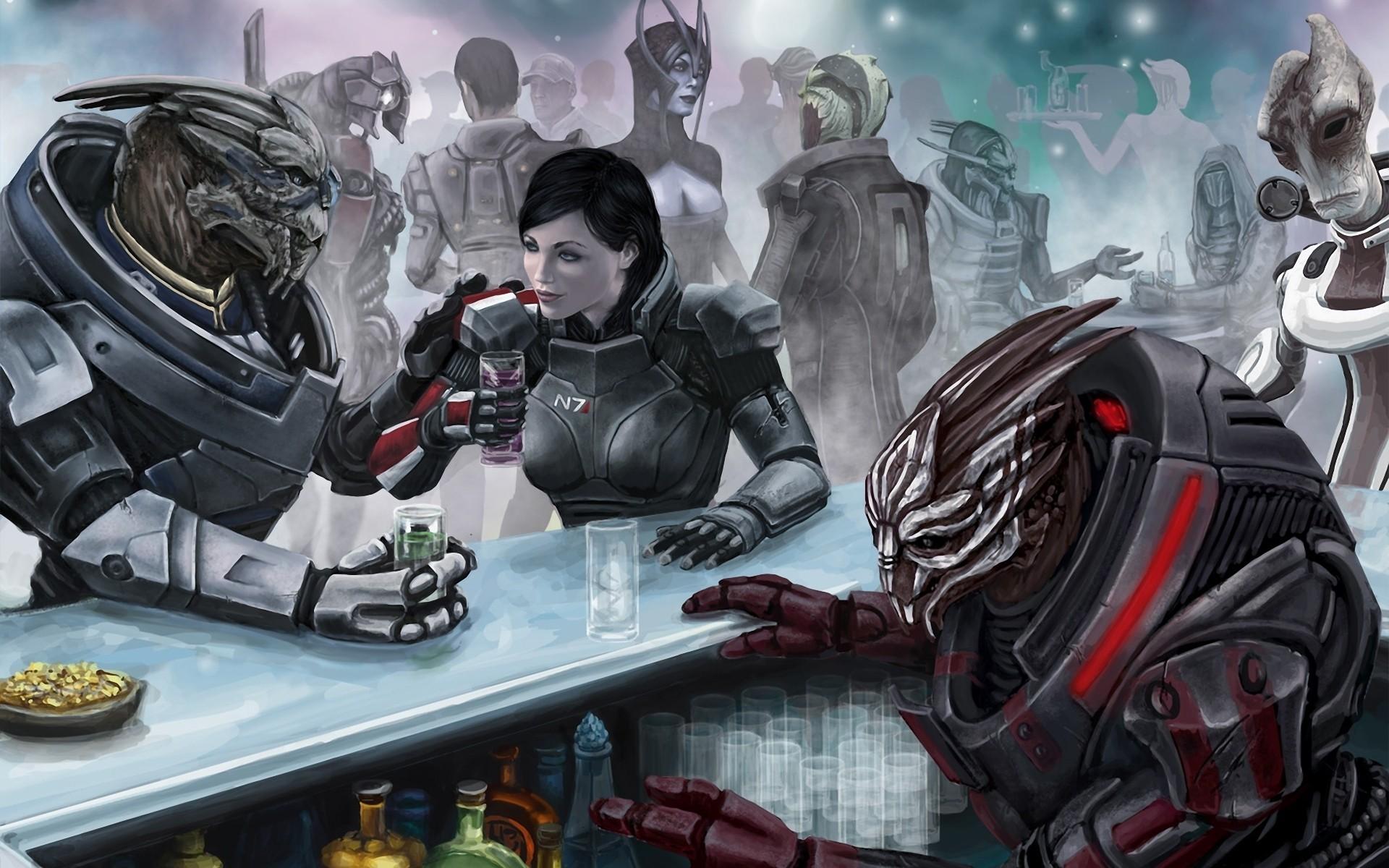 Bar In The Sky FemShep Game Garrus Vakarian Mass Effect Normandy